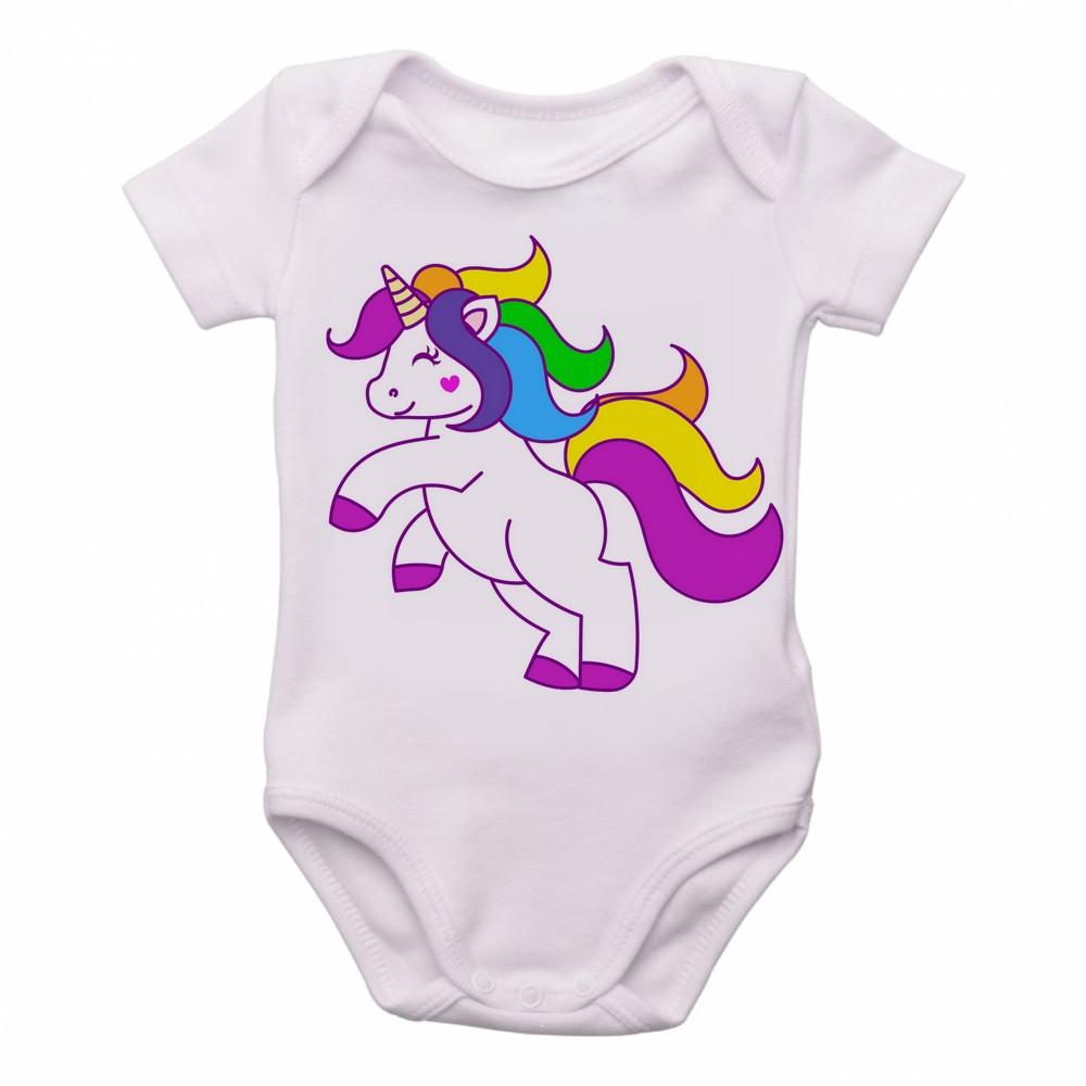 Body Crianca Infantil Roupa Bebe Unicornio Colorido Cavalo  f87088303d4