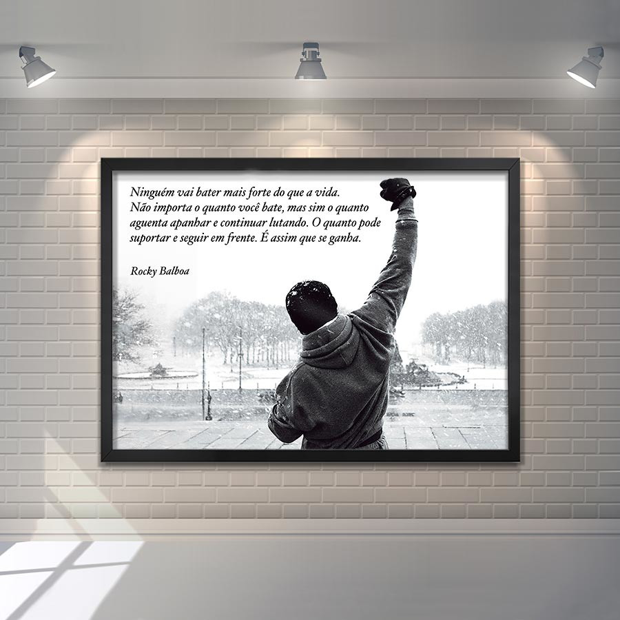 2d27a725a71 Quadro com Vidro Frase Rocky Balboa