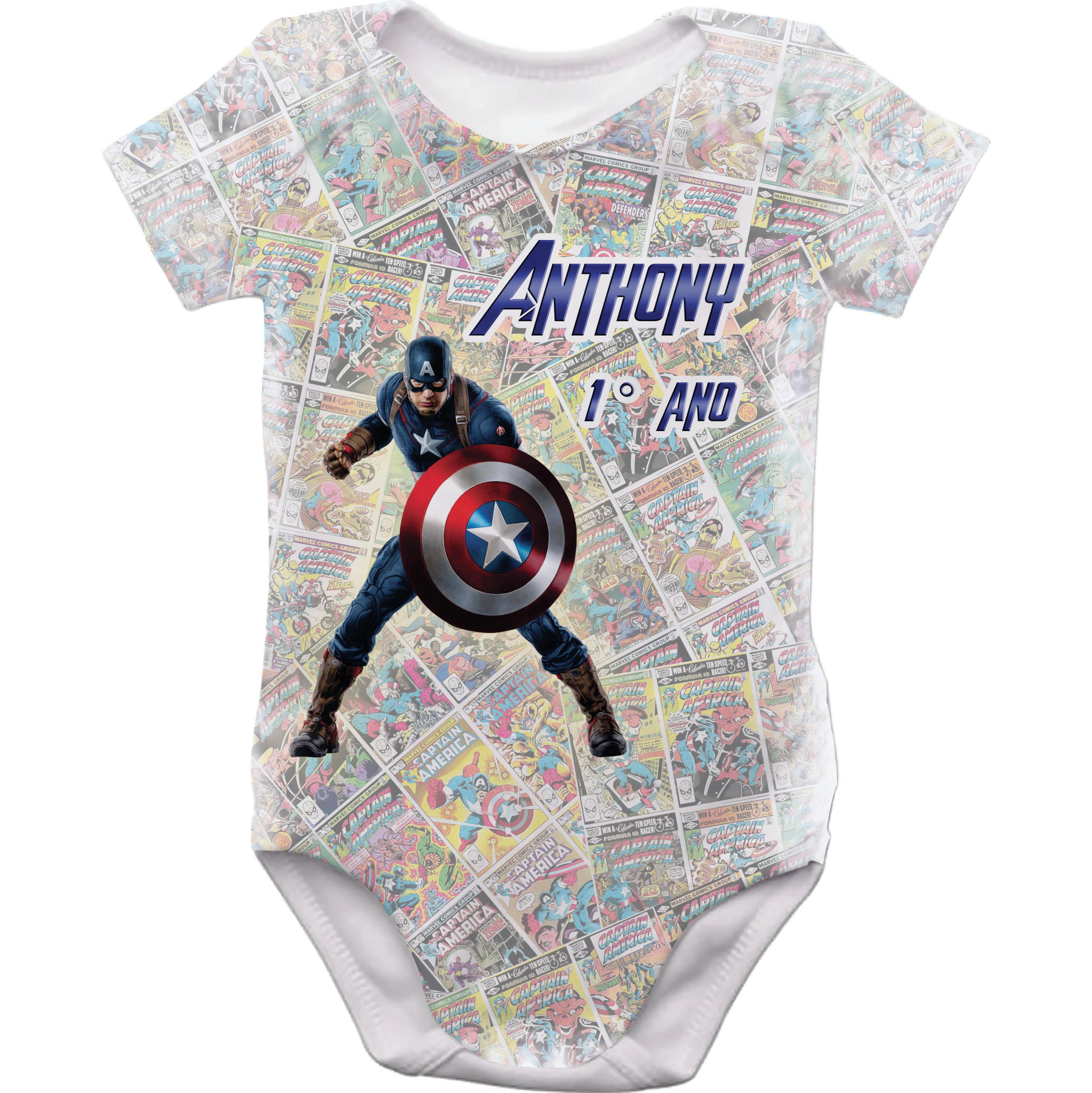 89b6100858133 Body Infantil Capitao America Nome Bebe