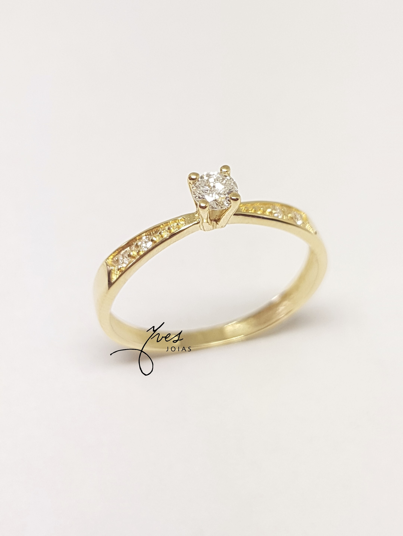 346cd2f2090b3 Anel Solitário em Ouro 18k Noivado com Diamantes no Elo7