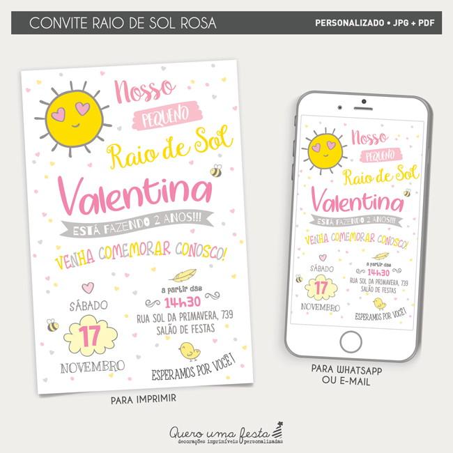 Convite Raio De Sol Elo7