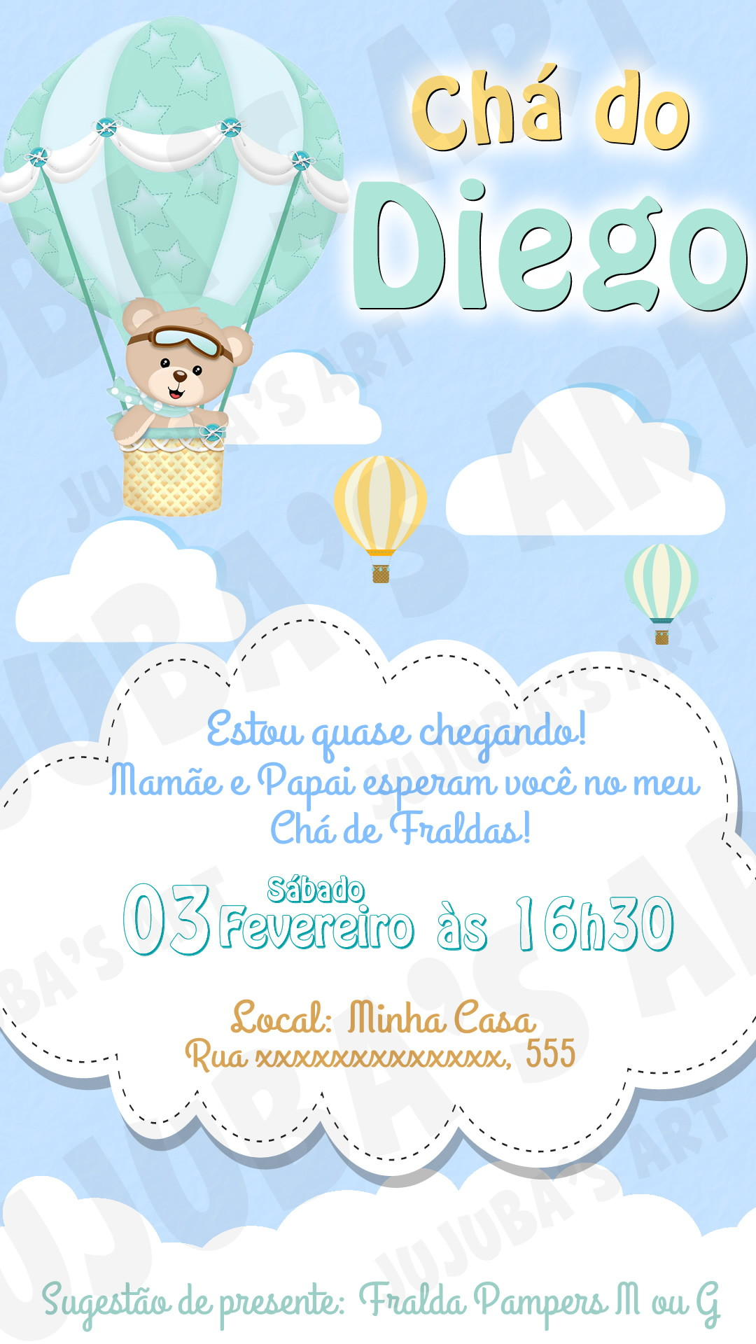 Convite Digital Chá De Bebê Ursinho Baloeiro Para Whatsapp No Elo7