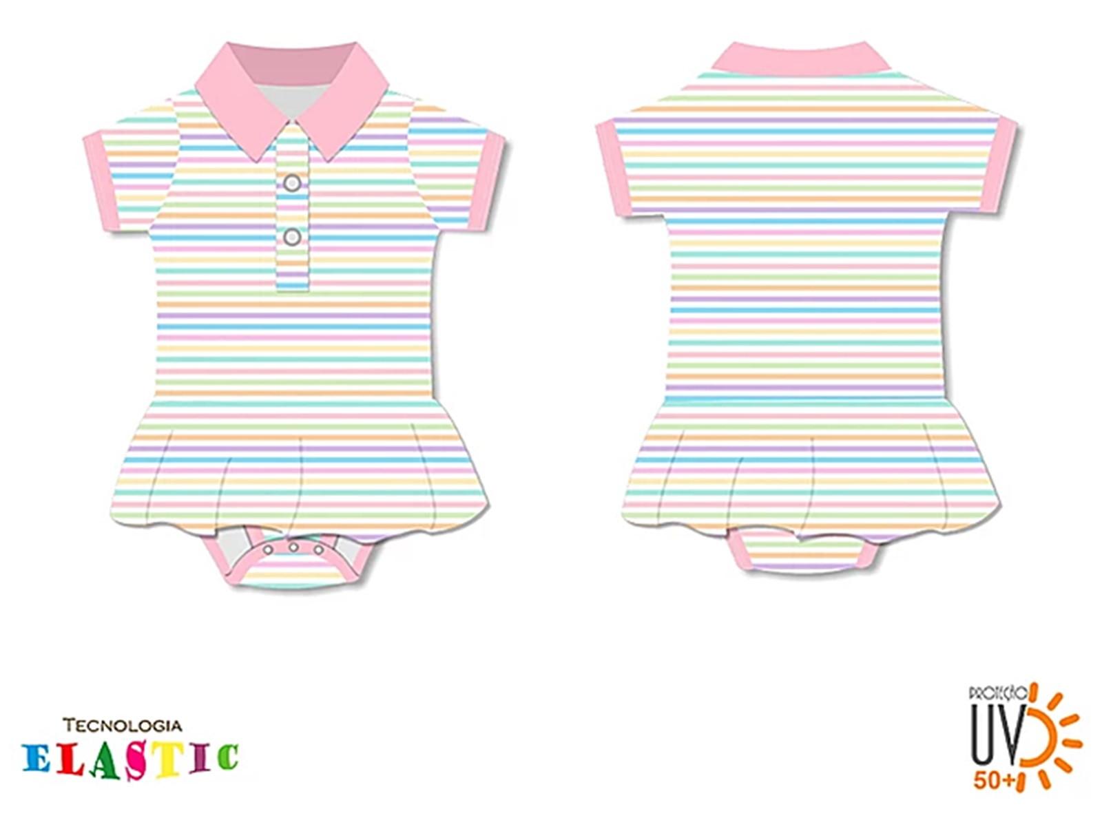 Body Polo Listrado Com Saia E Com Proteção Uv 50+ Tam GG no Elo7   Shop  Charme - Moda baby, kids, teen e adulto (CB62AE) 453a97cf4e