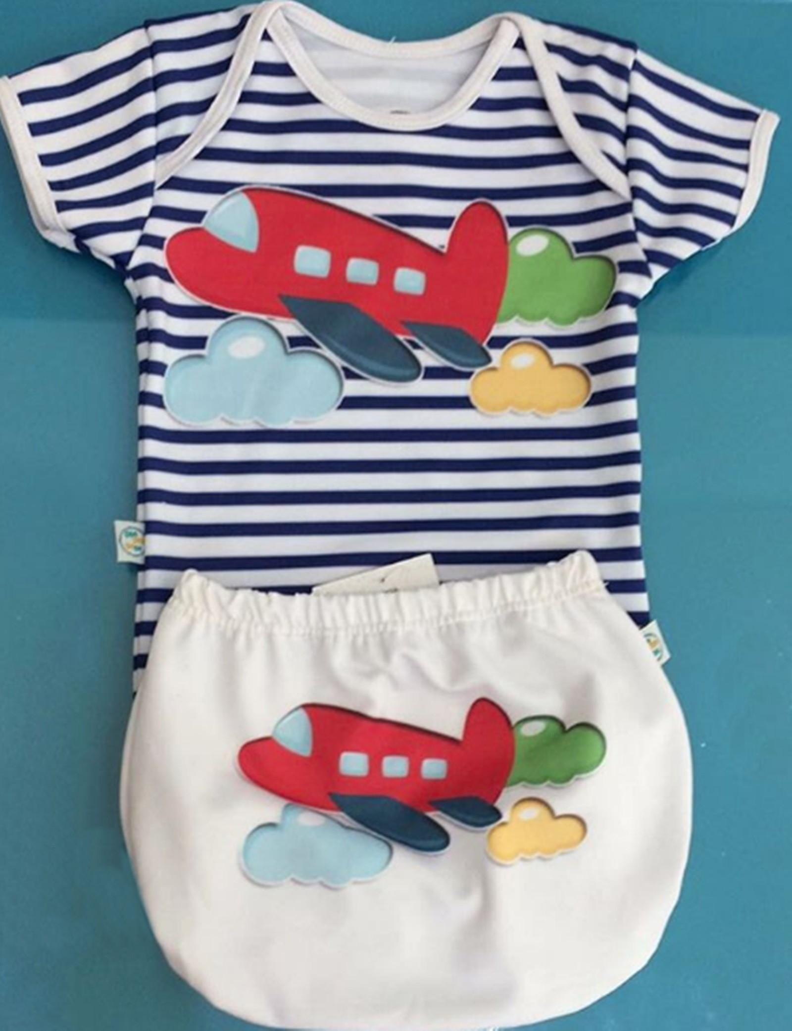 Body + Tapa Fralda Com Proteção Uv 50+ Avião Tam P 0-3 no Elo7   Shop  Charme - Moda baby, kids, teen e adulto (CB62C9) b9baf86413