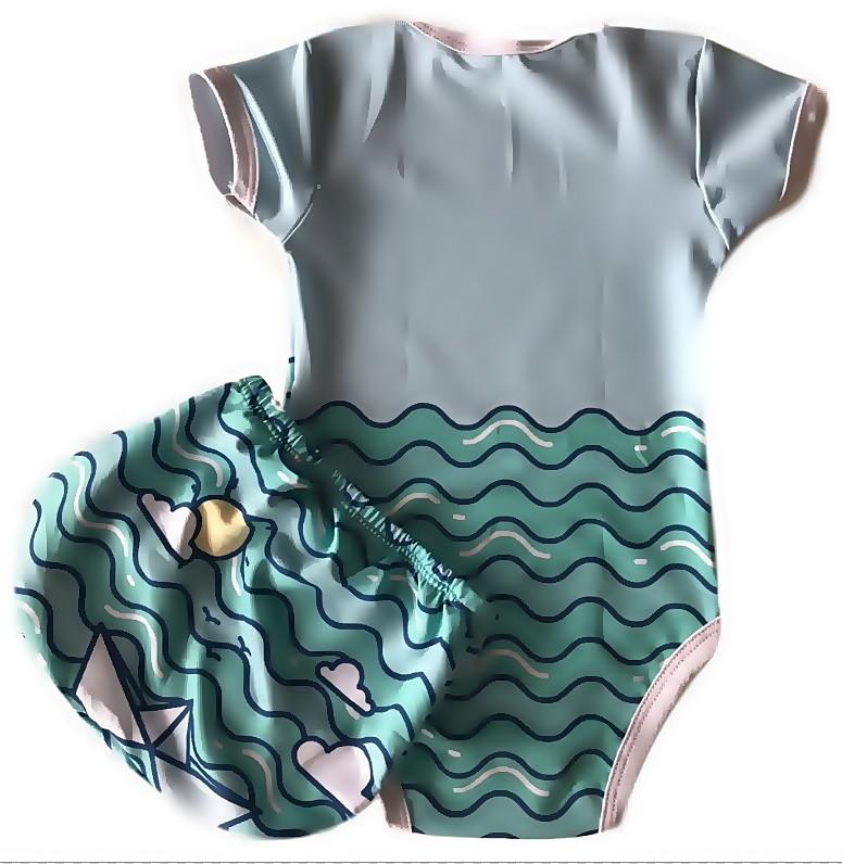 Body + Tapa Fralda Com Proteção Uv 50+ Barquinho M 3-6m no Elo7   Shop  Charme - Moda baby, kids, teen e adulto (CBAF00) 86e661dad4