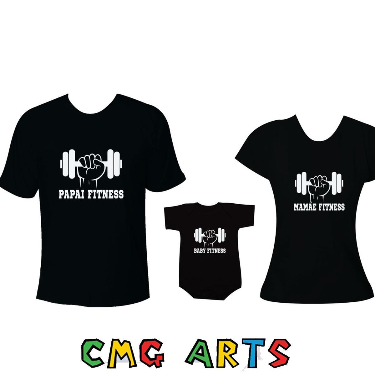 0380eefcf Camiseta Pai Fitness Mãe Fitness Baby Fitness | Elo7