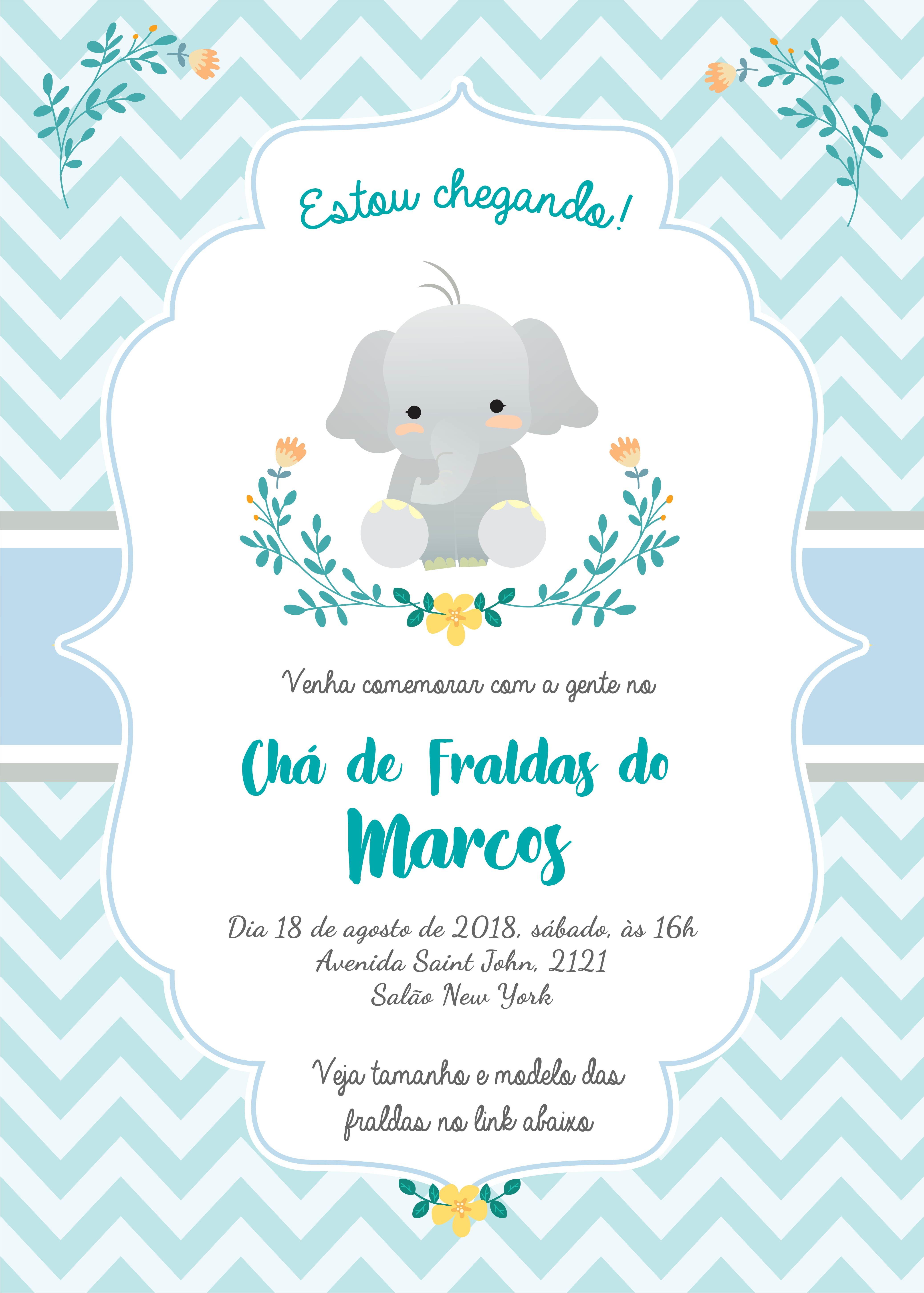 Arte Digital Para Convite Cha De Bebe Elefantinho Azul No Elo7