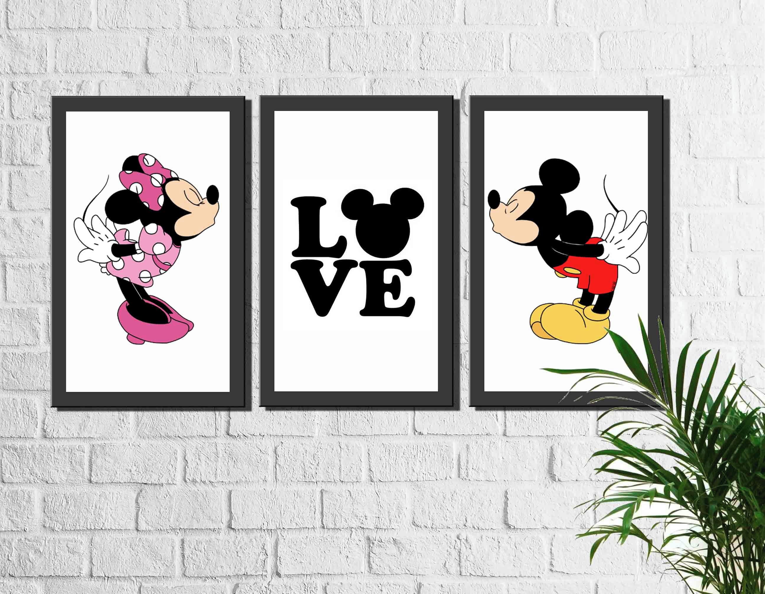 Kit 3 Quadros Decorativos Mickey E Minnie Love No Elo7 Arte