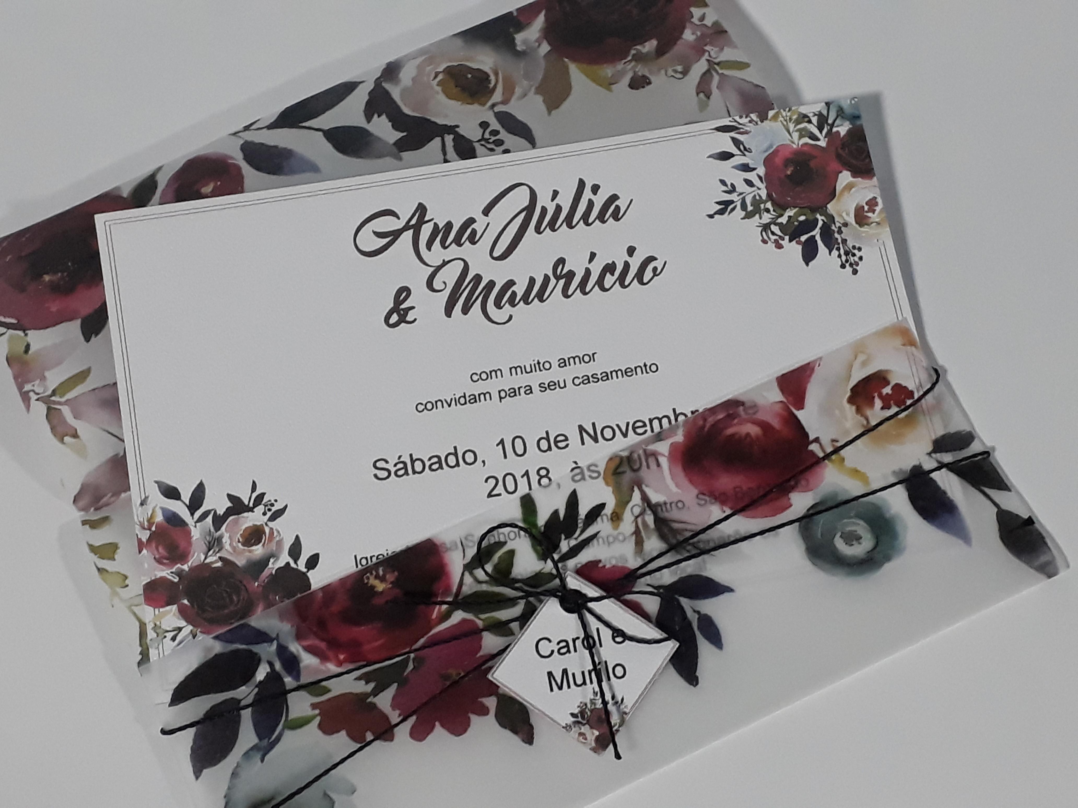 Convite De Casamento Em Papel Vegetal Elo7