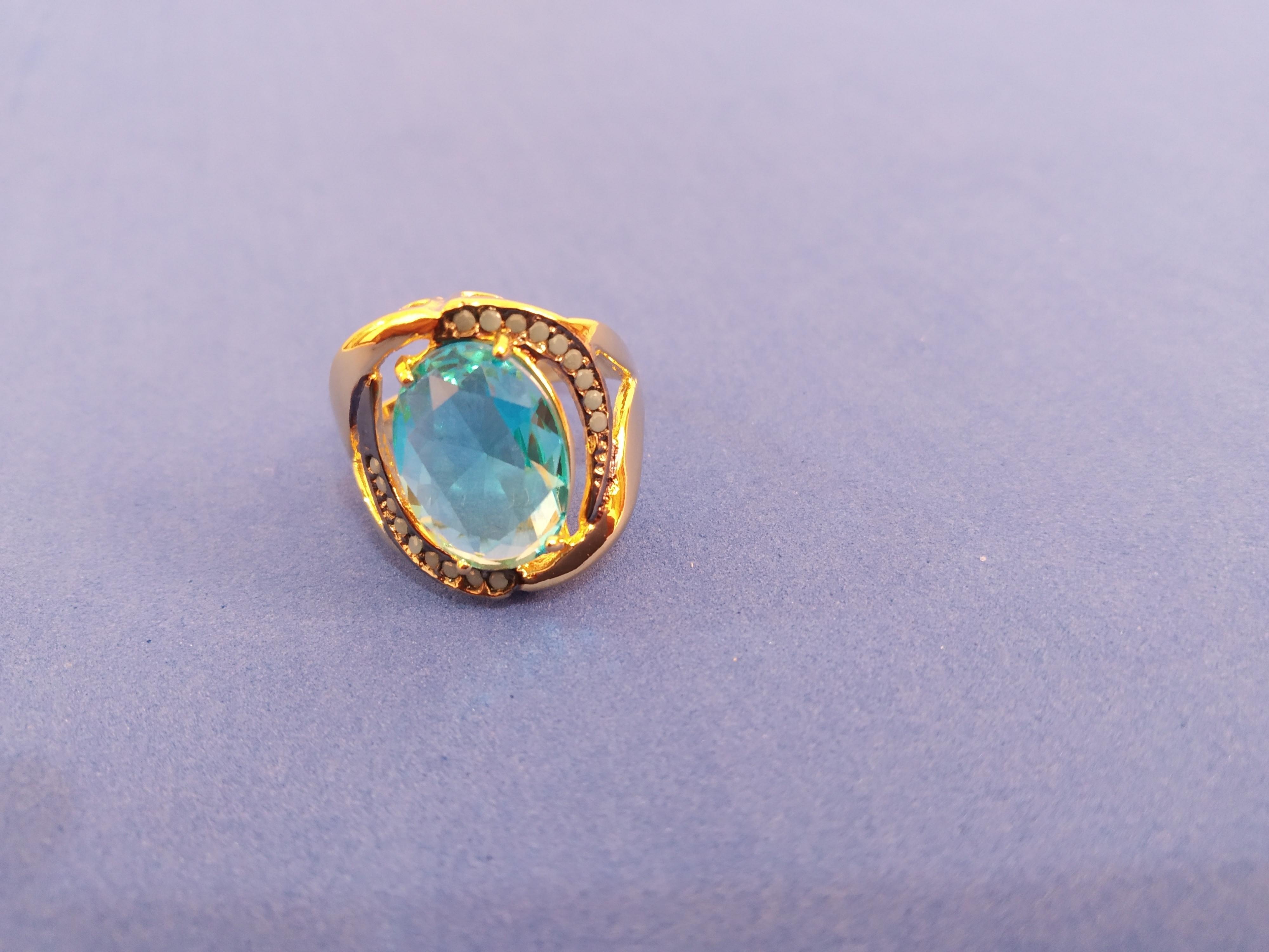 Anel Safira com Zirconia Cristal e Azul   Elo7 0095f5b022