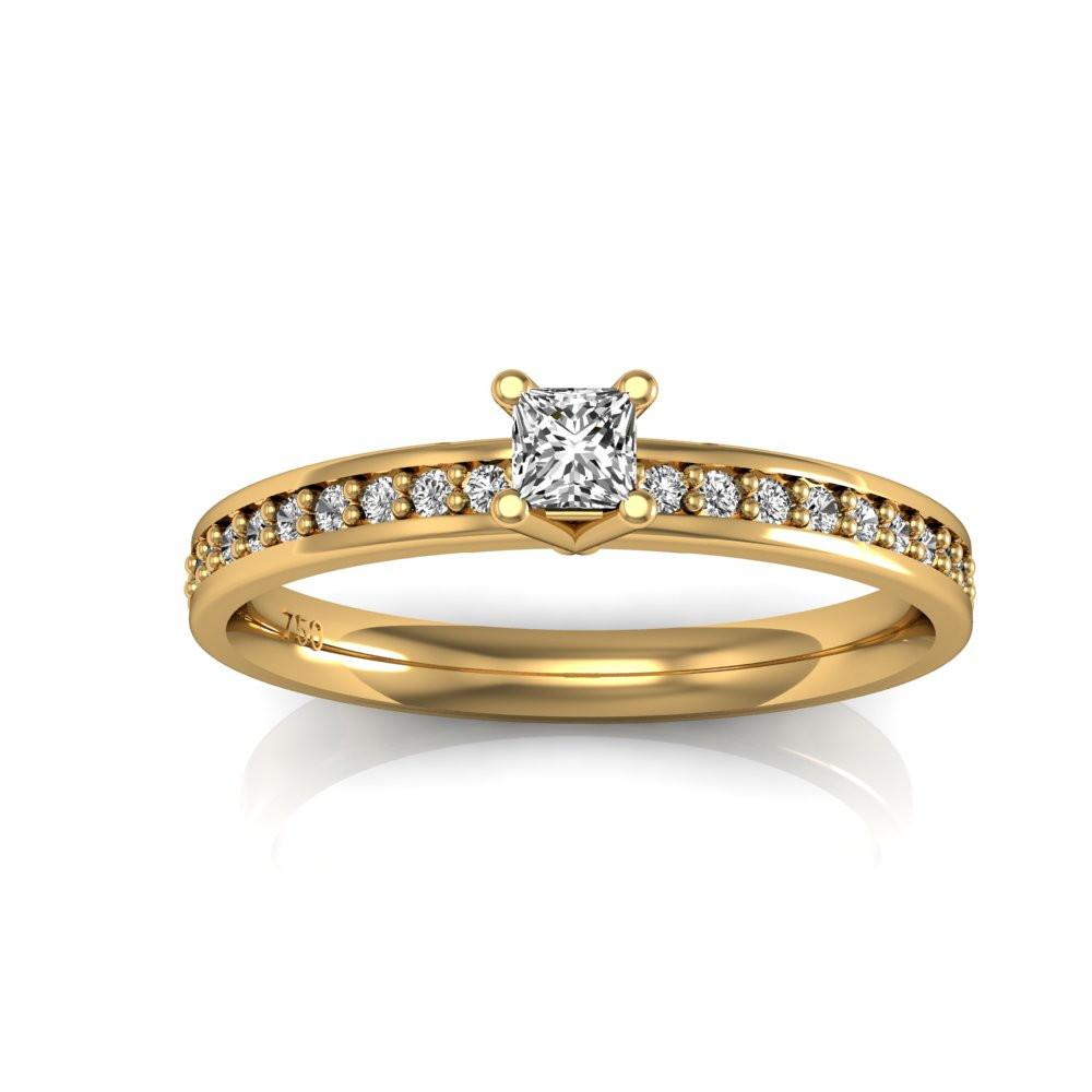 57539ea57c725 Princess – Anel de Noivado Ouro Amarelo e Diamantes no Elo7