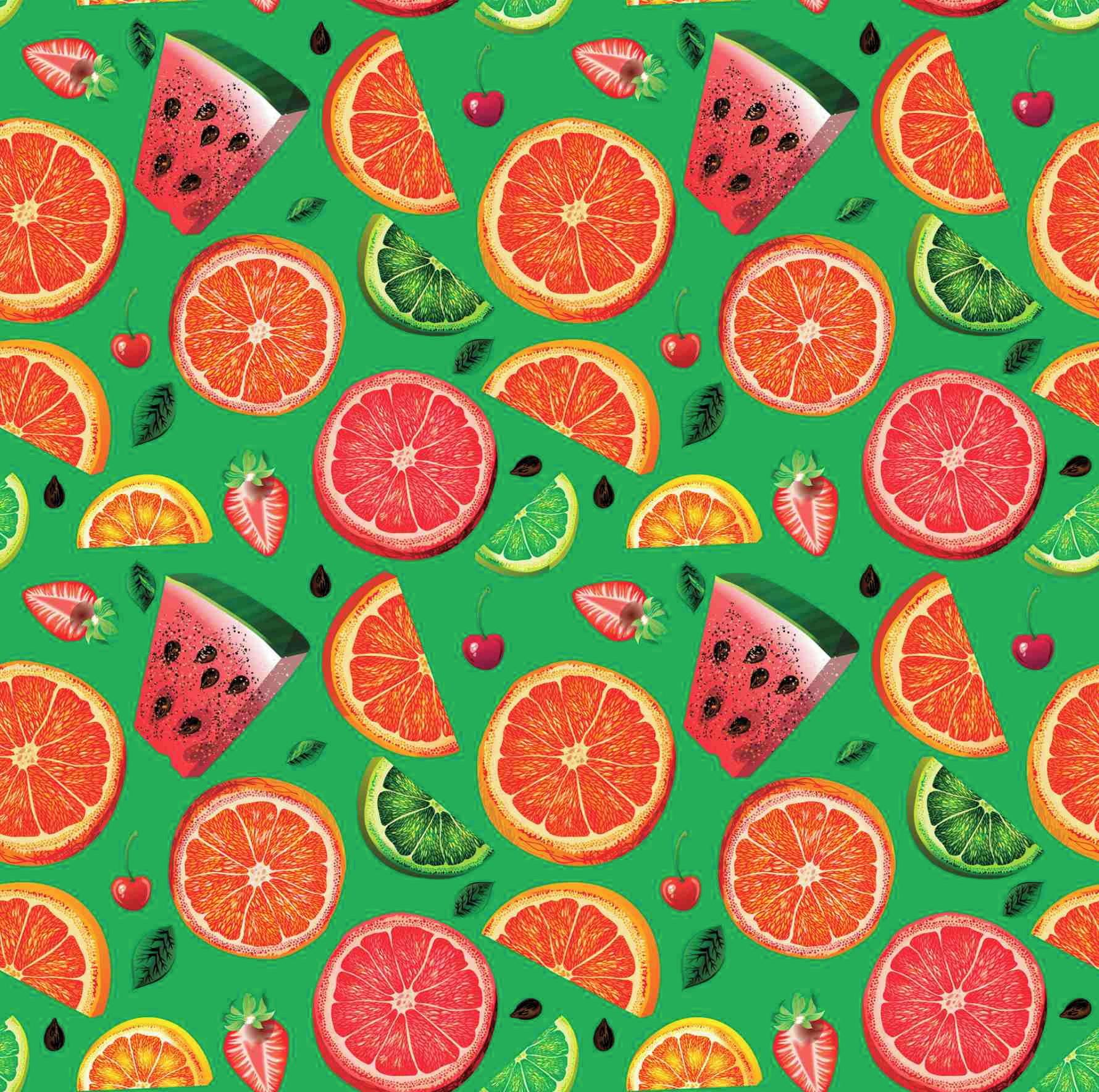 Papel De Parede Frutas Com Fundo Verde 1179 No Elo7 Papel Mais