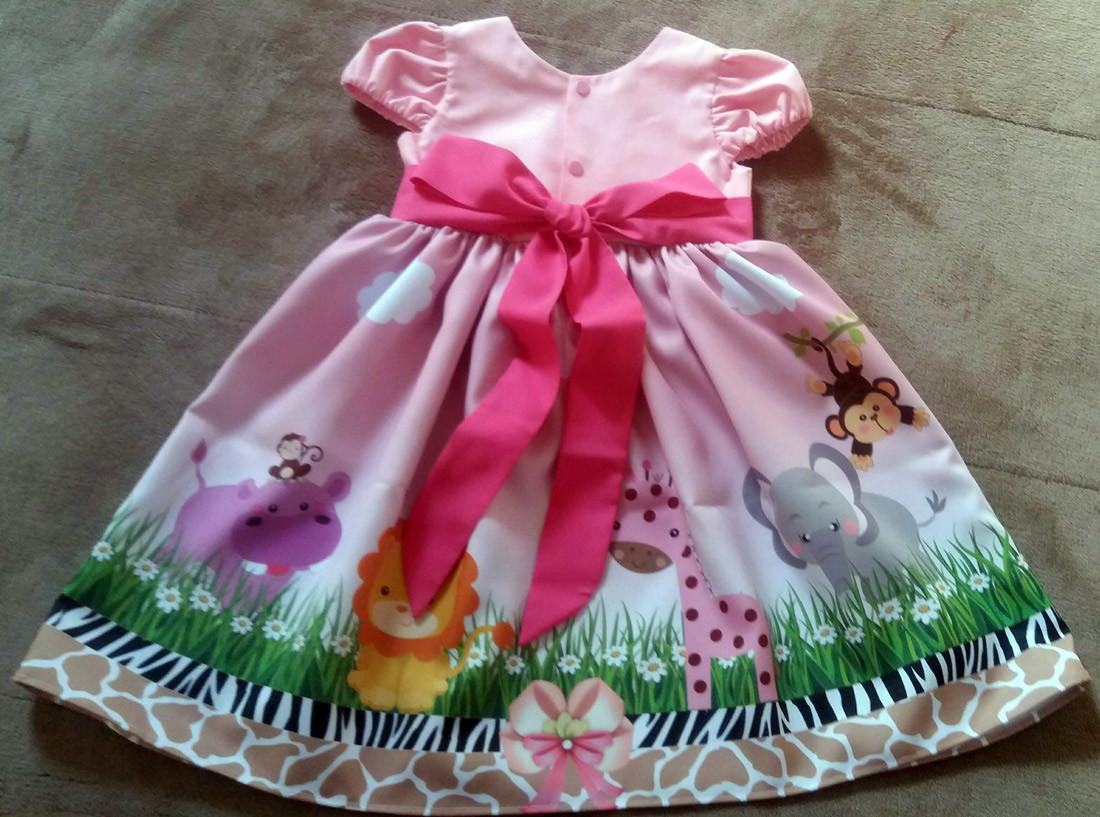 1547995f2c Vestido Festa Safari Rosa Infantil Menina By Tia Gina