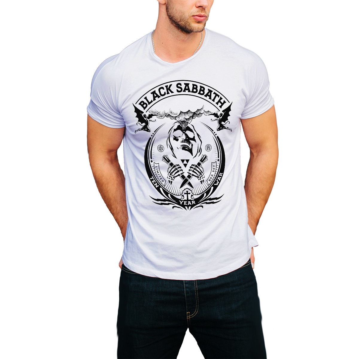 9e8d0ebc225 2 Camisetas Camisa Black Sabbath Branca Roupa Masculina Bara no Elo7 ...