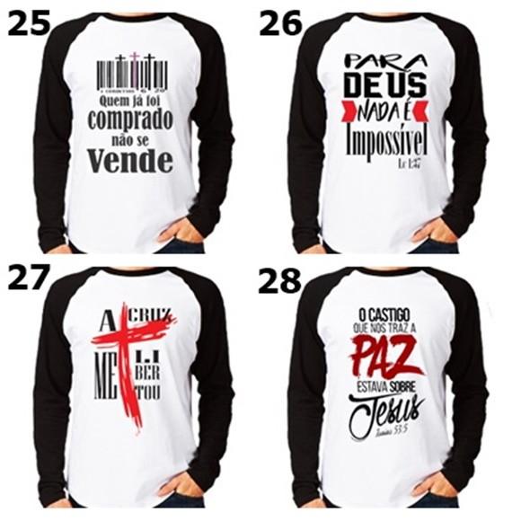 fae1585a2 kit com 5 camisas manga longa evangélicas com dizeres no Elo7