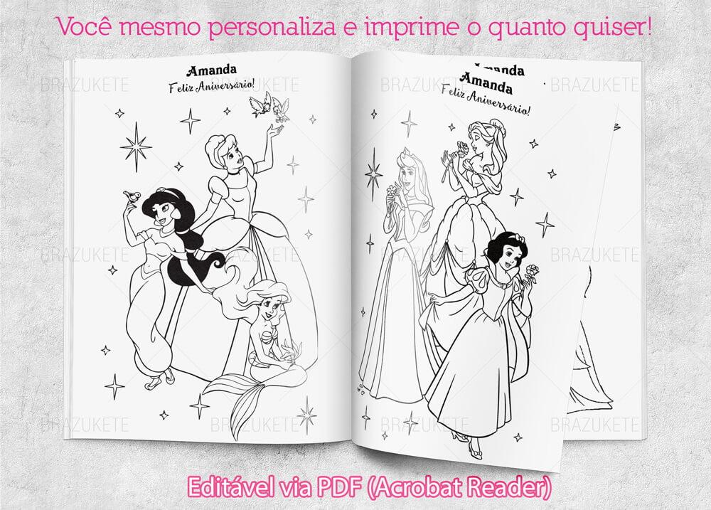 Livrinho De Colorir Princesas Disney Para Imprimir Com Nome No
