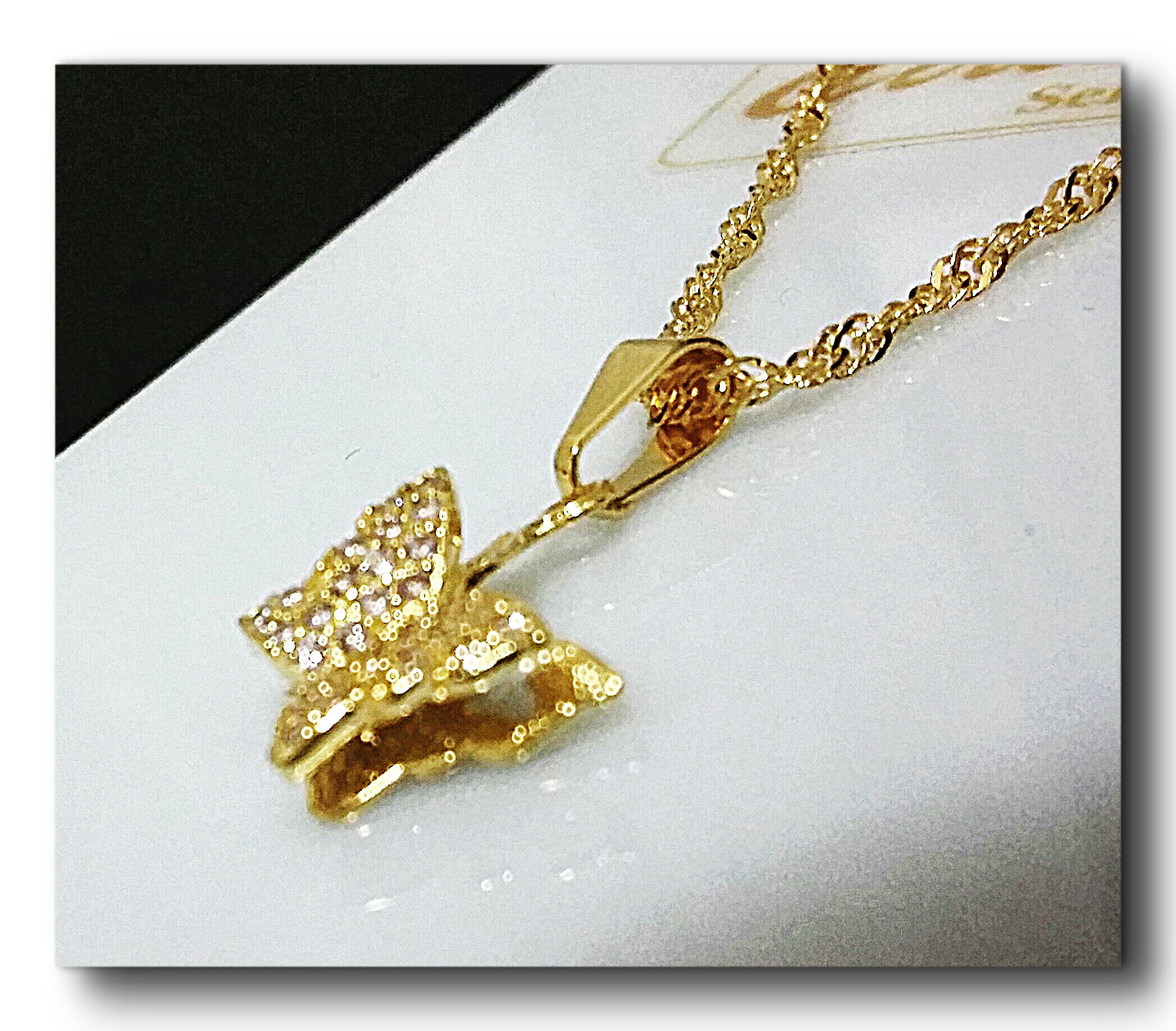 Corrente com Pingente Borboleta com Zirconias Folheado Ouro   Elo7 0dcffda666