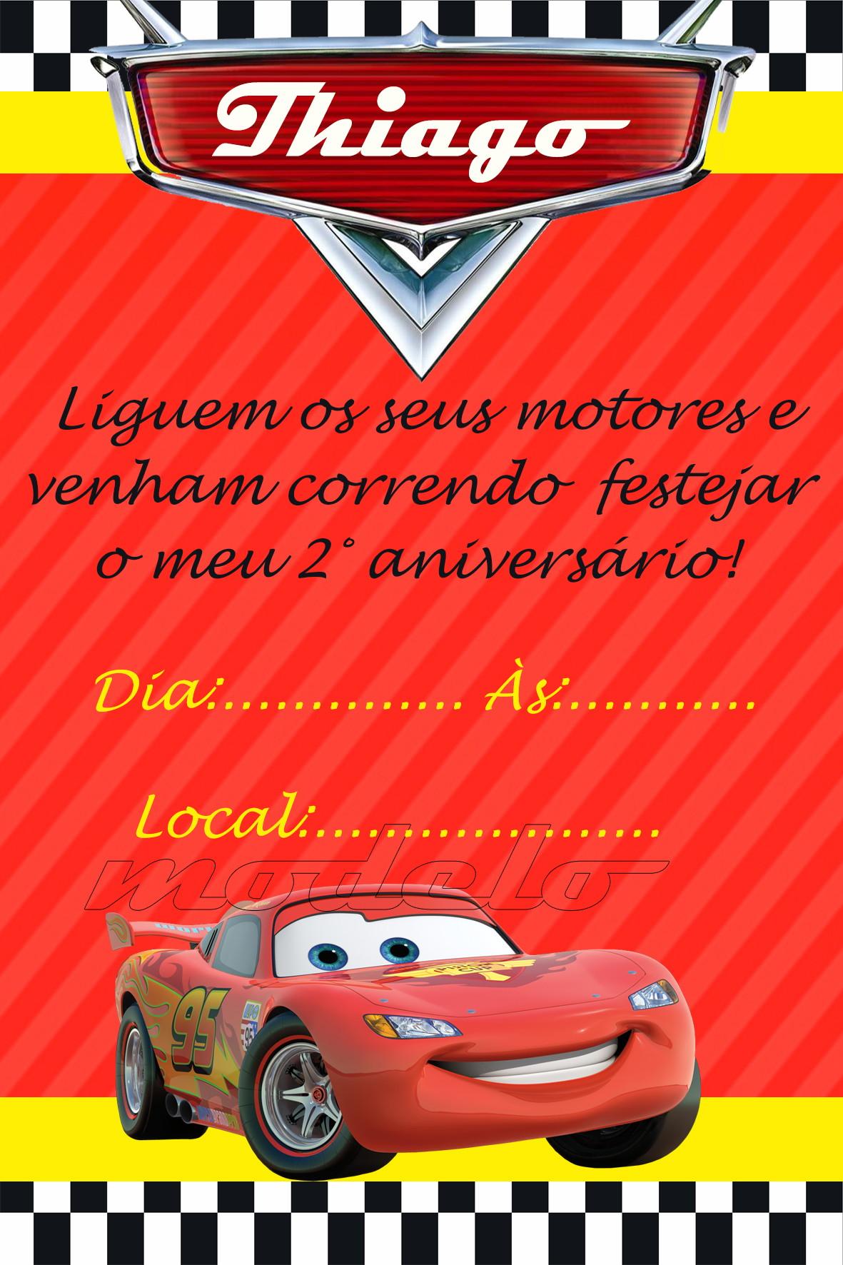 Convite De Aniversario Relampago Mcqueen Elo7