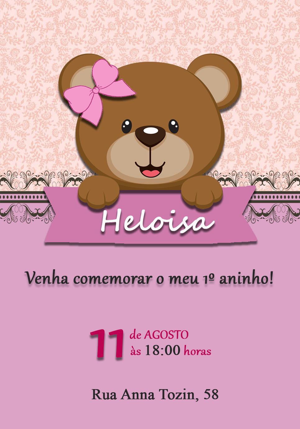 Convite 1 Aninho Menina Elo7