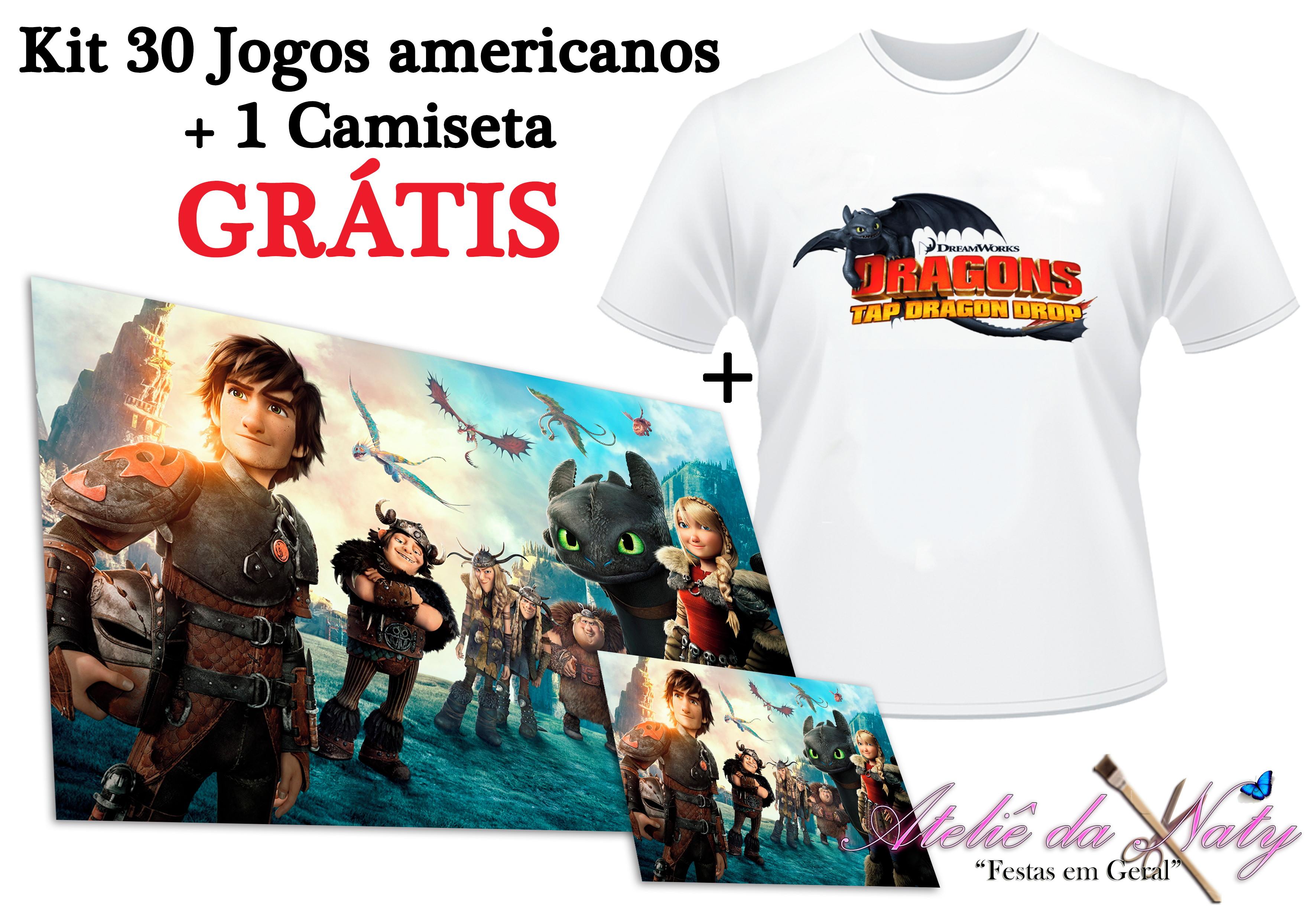 Jogo Americano e Camisa Como Treinar Seu Dragão  3cad226222b0b