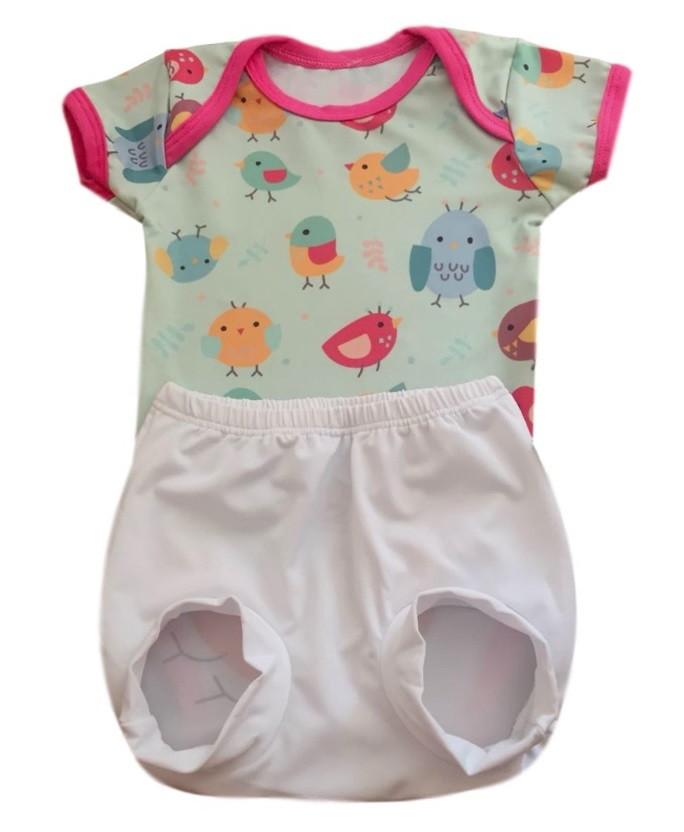 Body + Tapa Fralda Com Proteção Uv 50+ Passaros Tam. P 0-3m no Elo7   Shop  Charme - Moda baby, kids, teen e adulto (CF11AD) 29ff5f92d1
