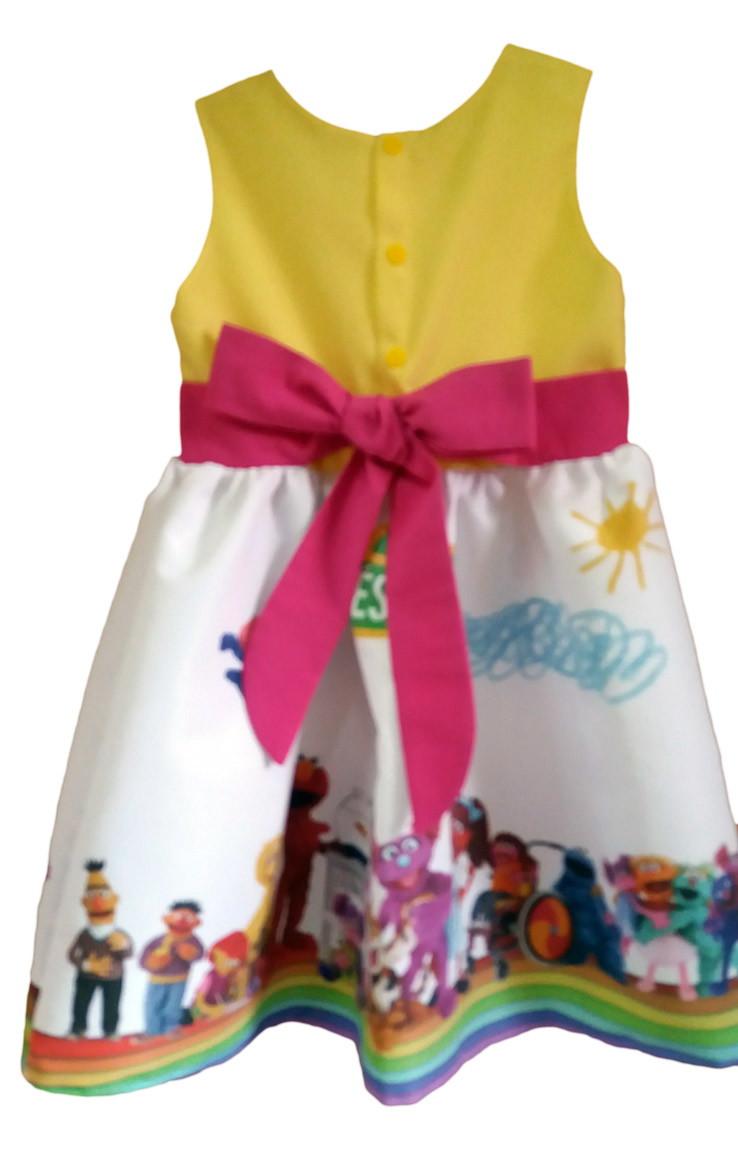 c61f09a72d Vestido Vila Sésamo Festa Infantil Tia Gina Tam. 08 Ao 14. no Elo7