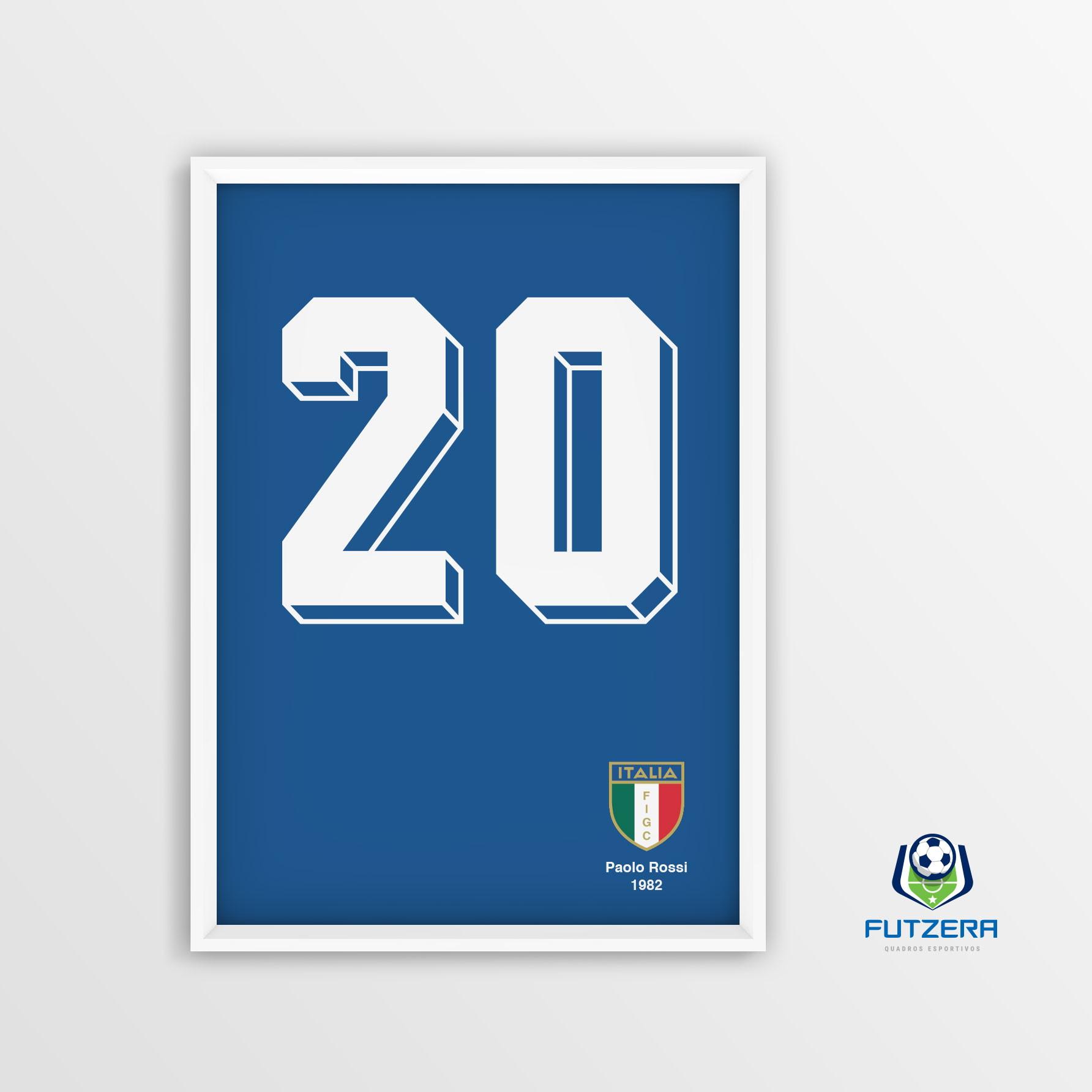64d0818ea1 Camisa Seleção Itália Paolo Rossi Copa 1982 Quadro Decorativ no Elo7 ...