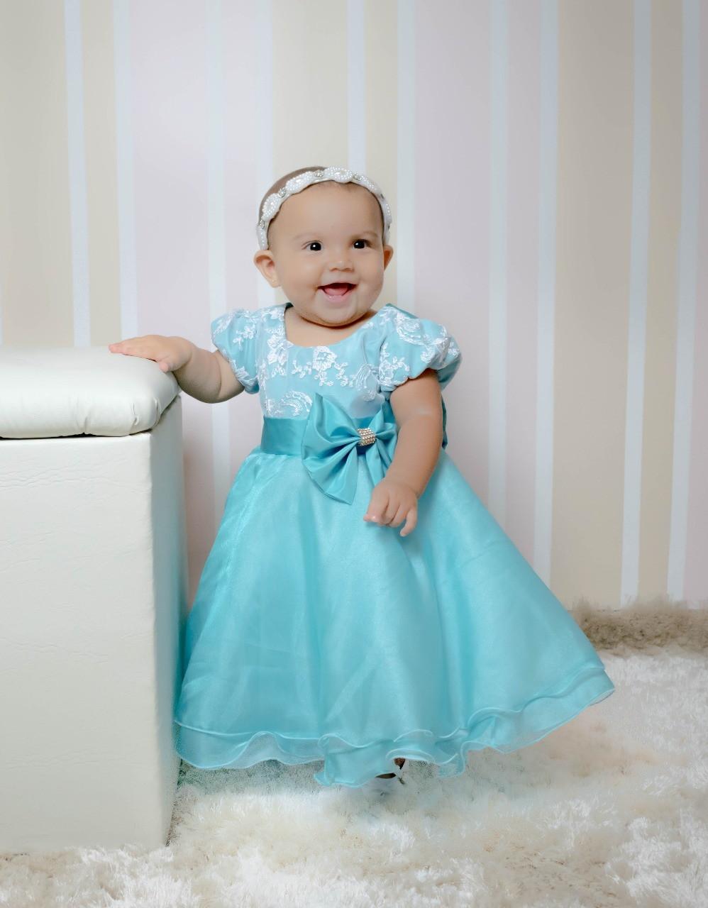 Vestido Infantil Verde Agua  3d9070d51f4