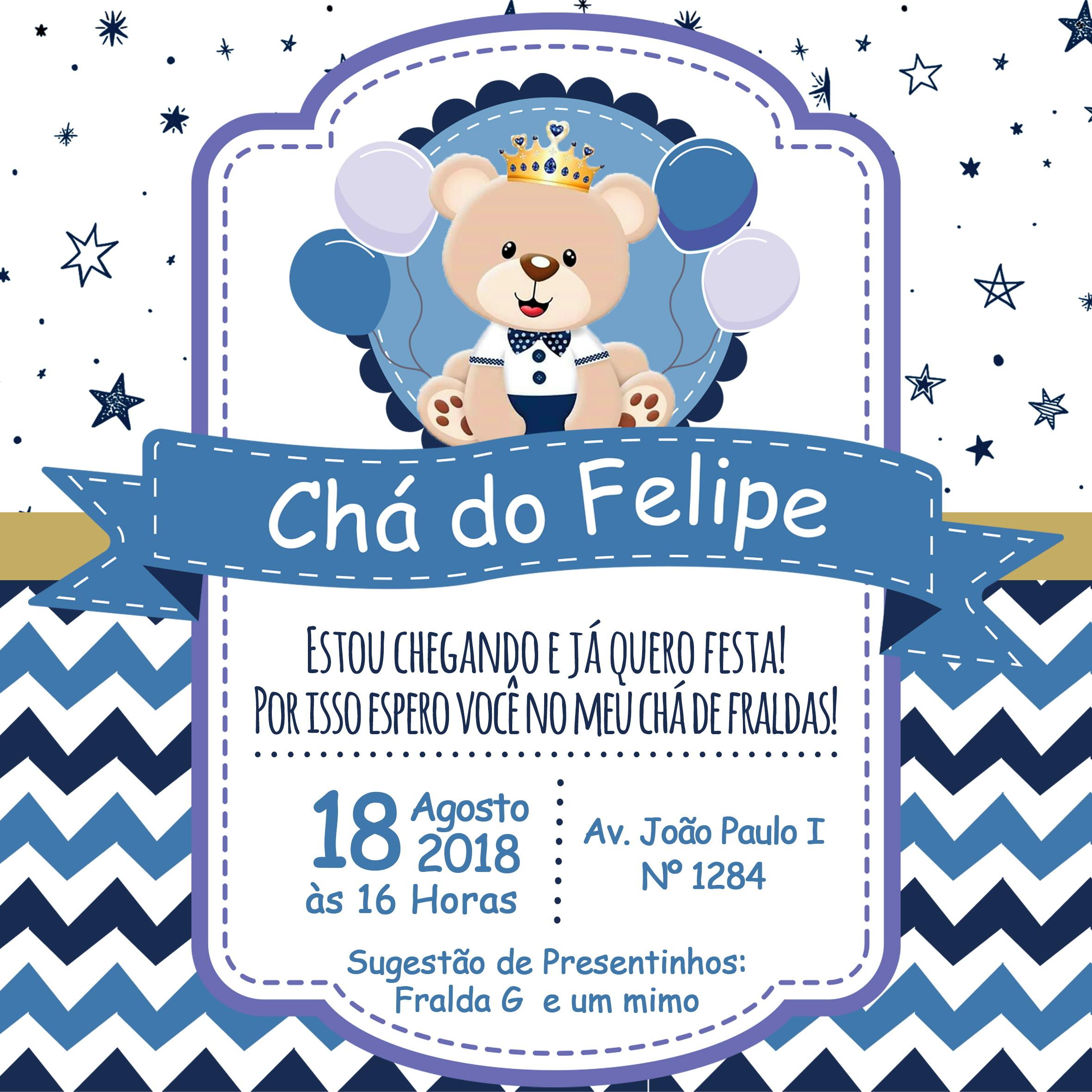 Convite Cha De Bebe Urso Principe Elo7