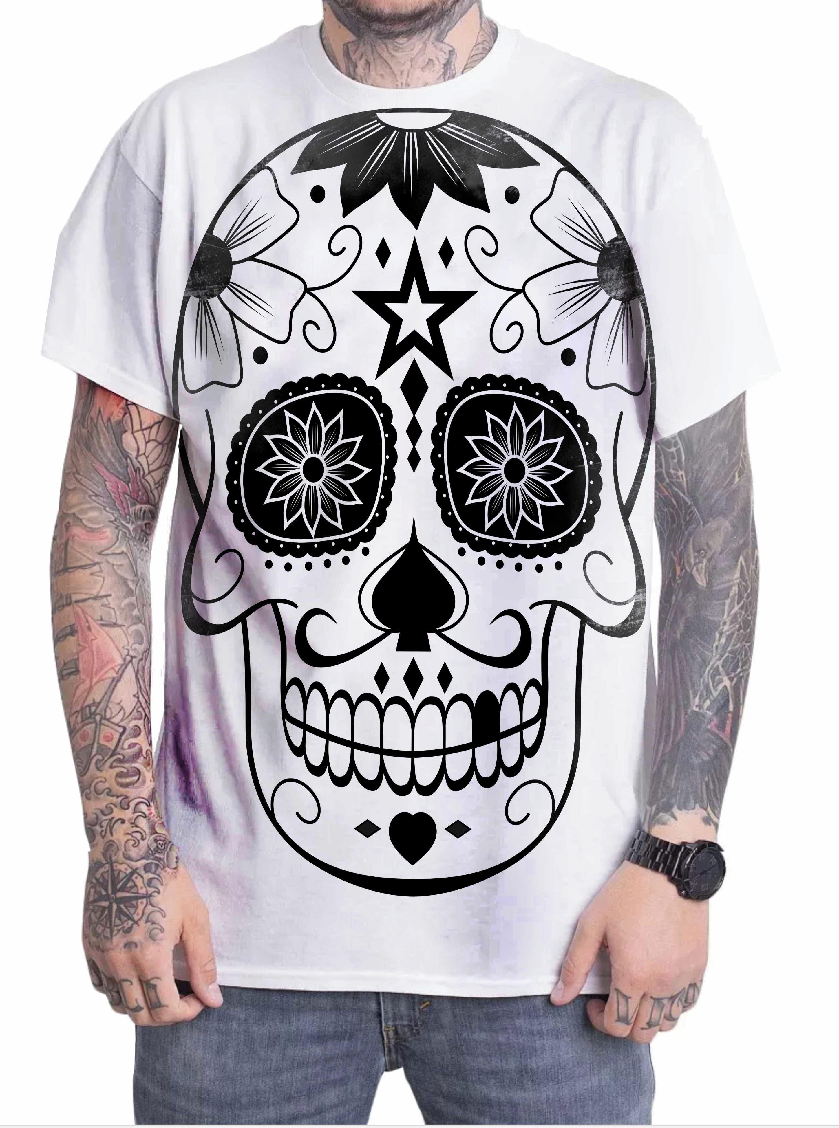 Camiseta Camisa Personalizada Caveira Mexicana 01  a7fbe9062dd