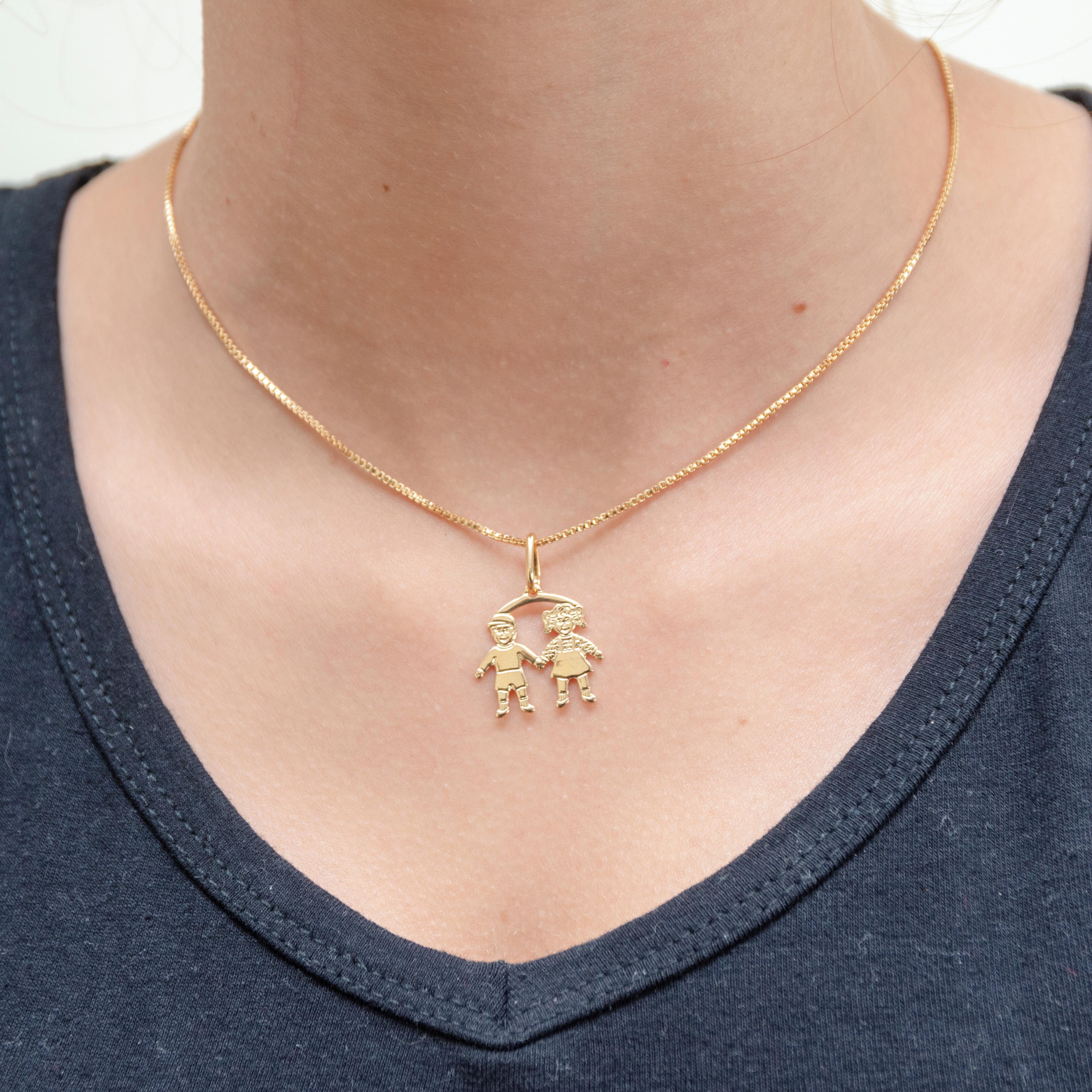 Colar Folheado a Ouro 45cm com Pingente de Diamante   Elo7 052b916fc8