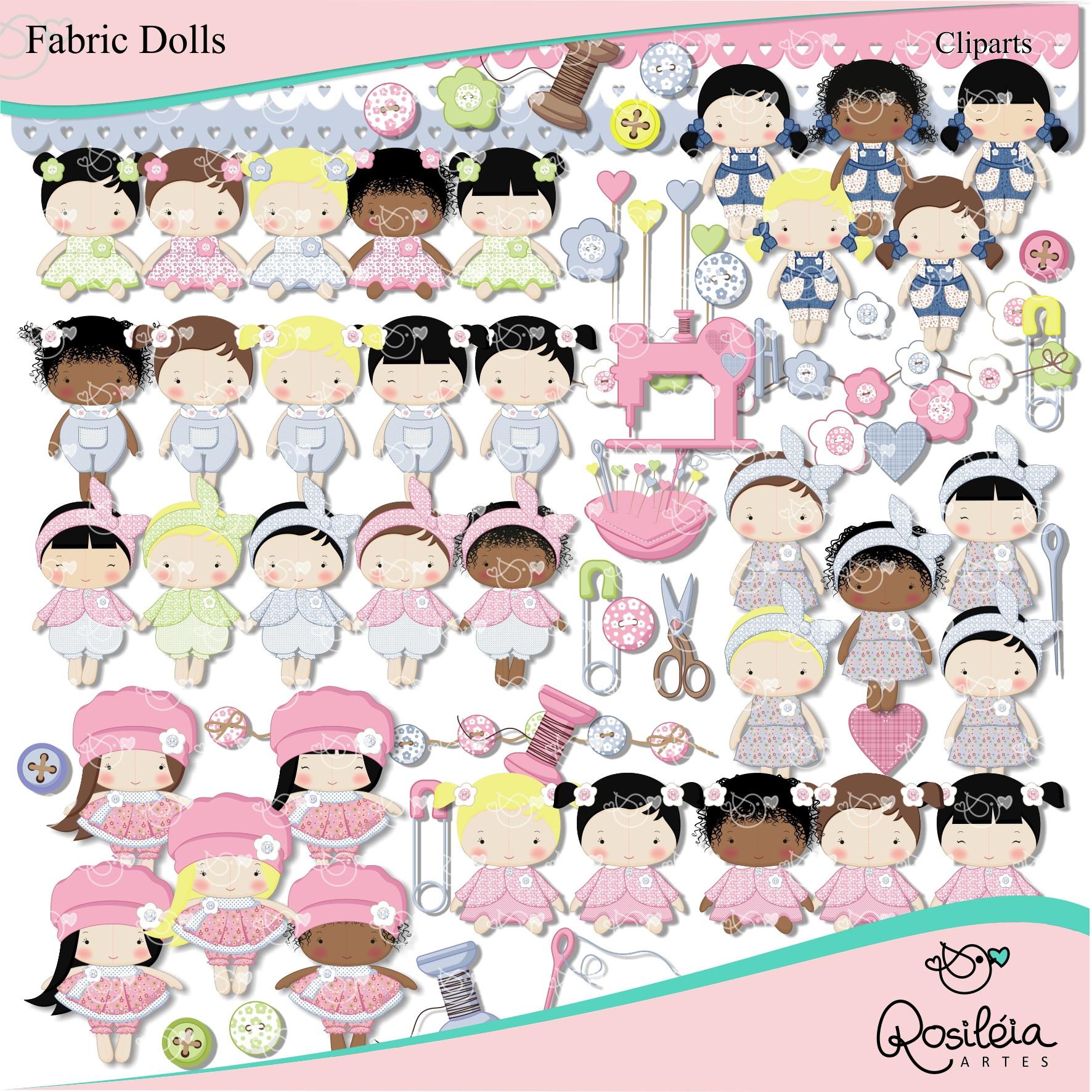 Kit Digital Fabric Dolls Bonecas De Pano No Elo7 Rosileia