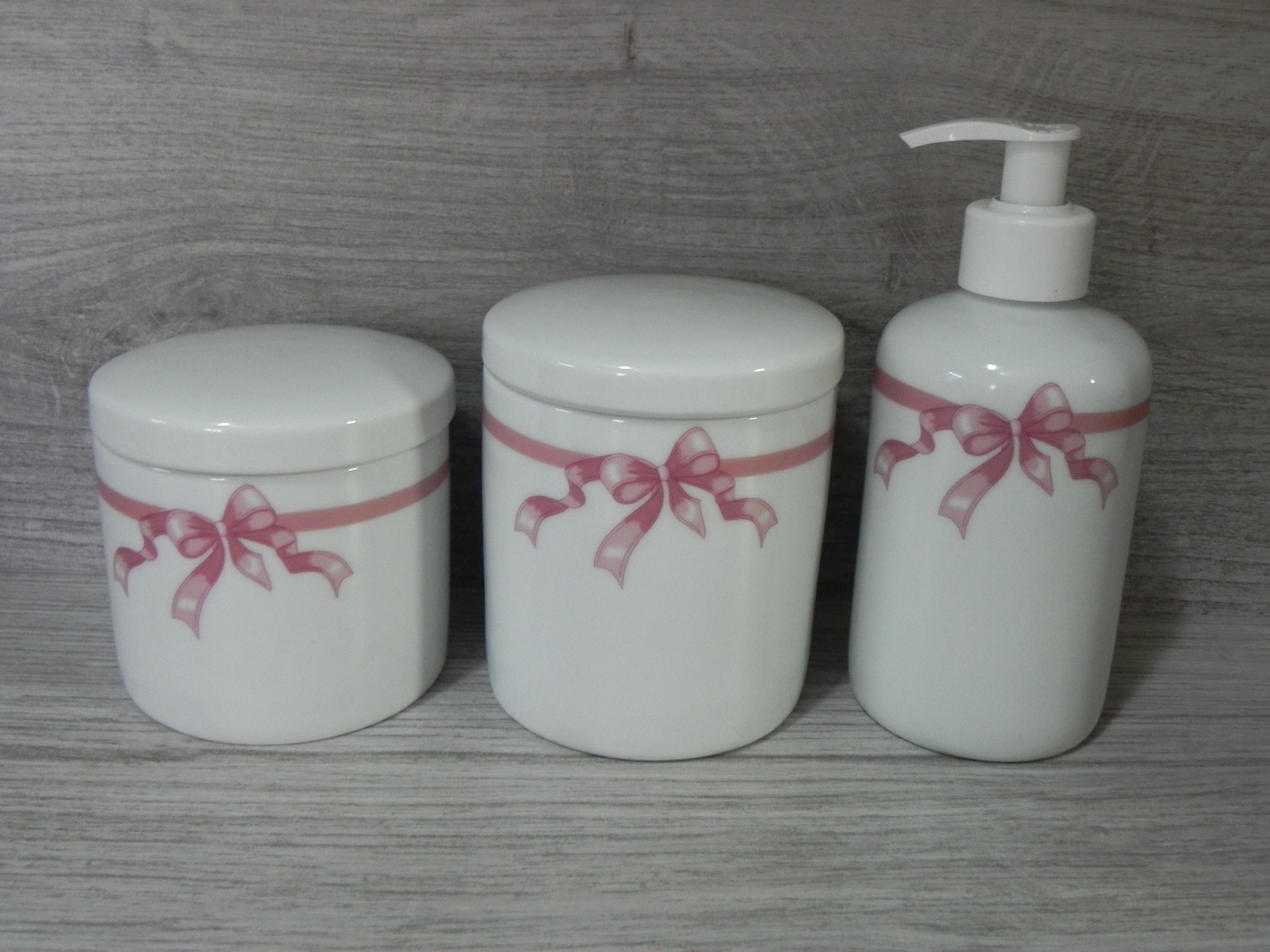 Kit Higiene Porcelana Banheiro 3 Pç Laço Rosa Pote Dispenser