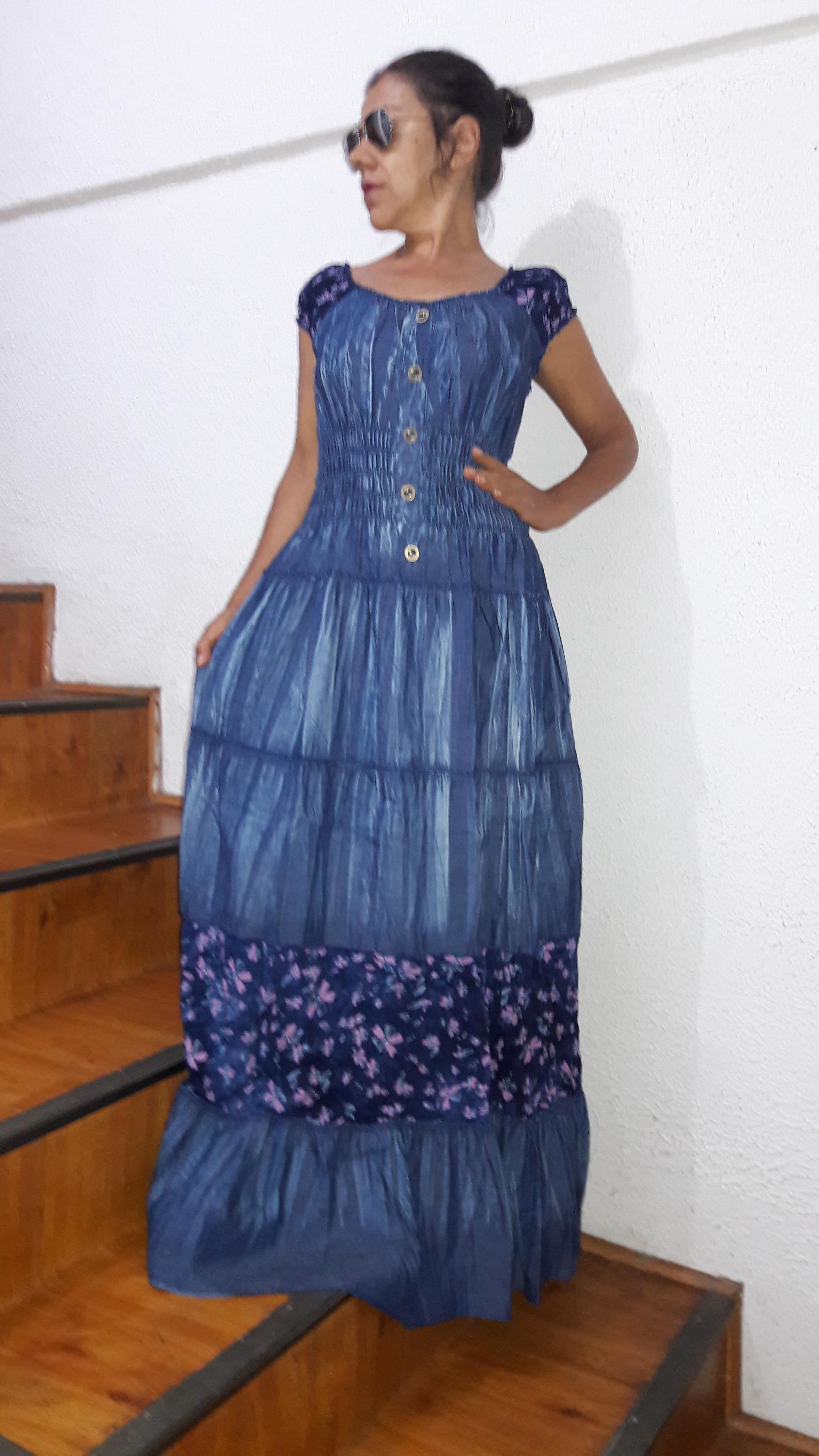 f486f0001 vestido jeans longo estilo cigano promoção no Elo7 | Belíssima Moda  Criativa Bordados e Rendas - Ateliêr Artesanal (D2E2C0)