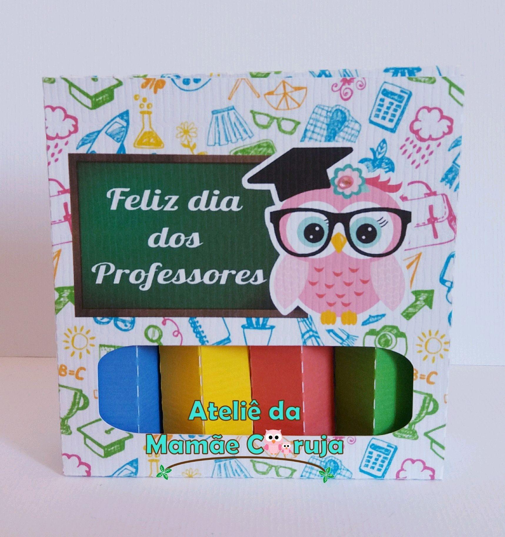 45651d1bbb Caixa de Lápis de Cor com Chocolate Dia dos Professores
