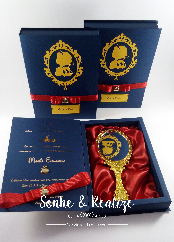 44918bf21a63 Convite Super Luxo Branca de Neve Baby   Elo7