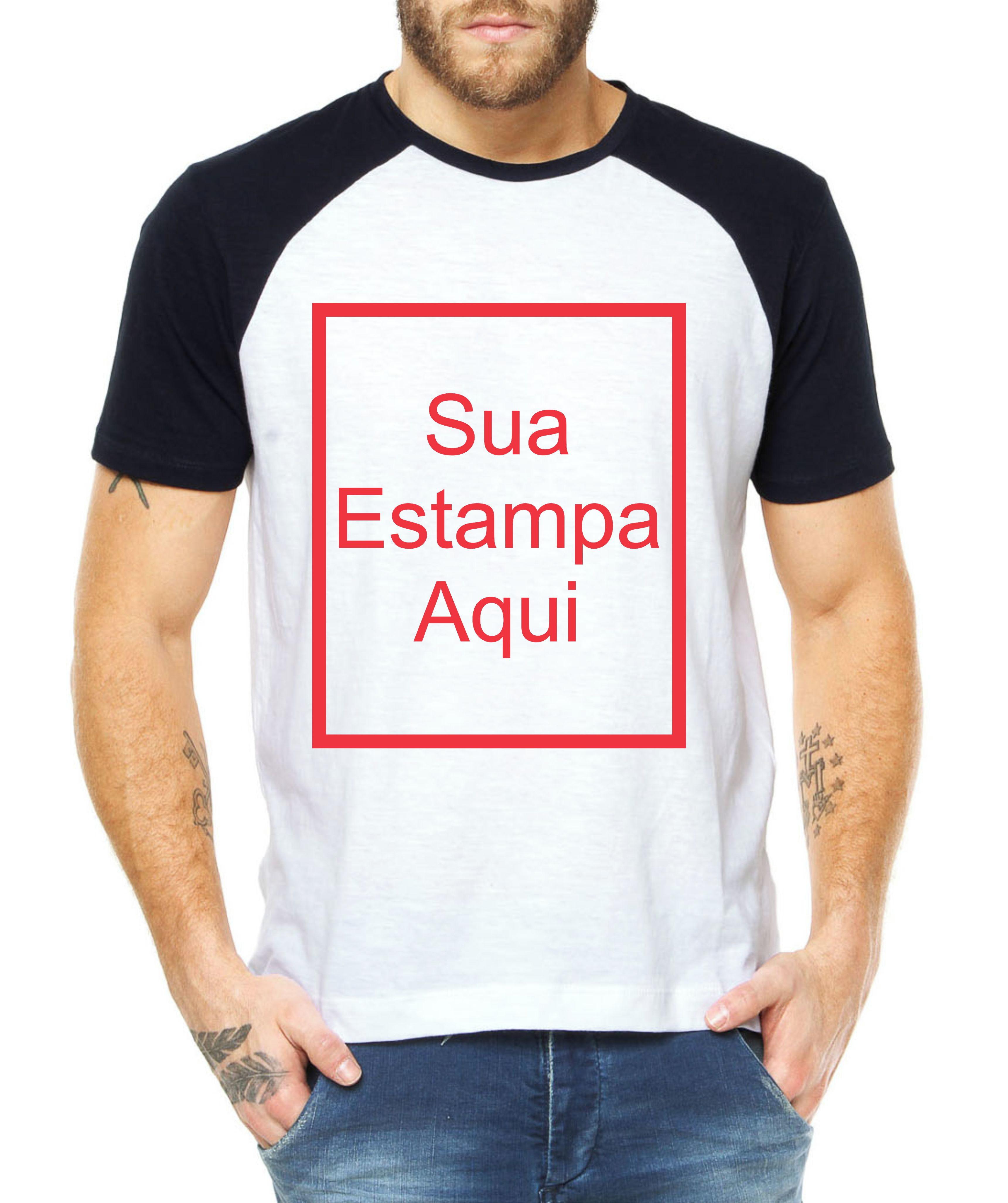 6fab95296b Camiseta Raglan Masculina Personalizada Customizada Camisa