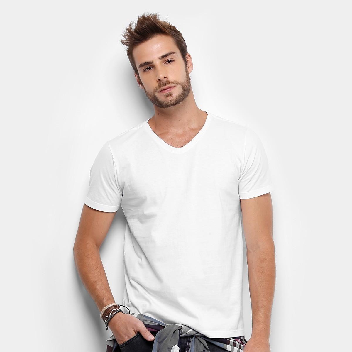 bd0d93cb04e7d Camiseta Gola V 100% Algodão Sem Estampa Fio 30.1 Lisa Cor no Elo7 ...