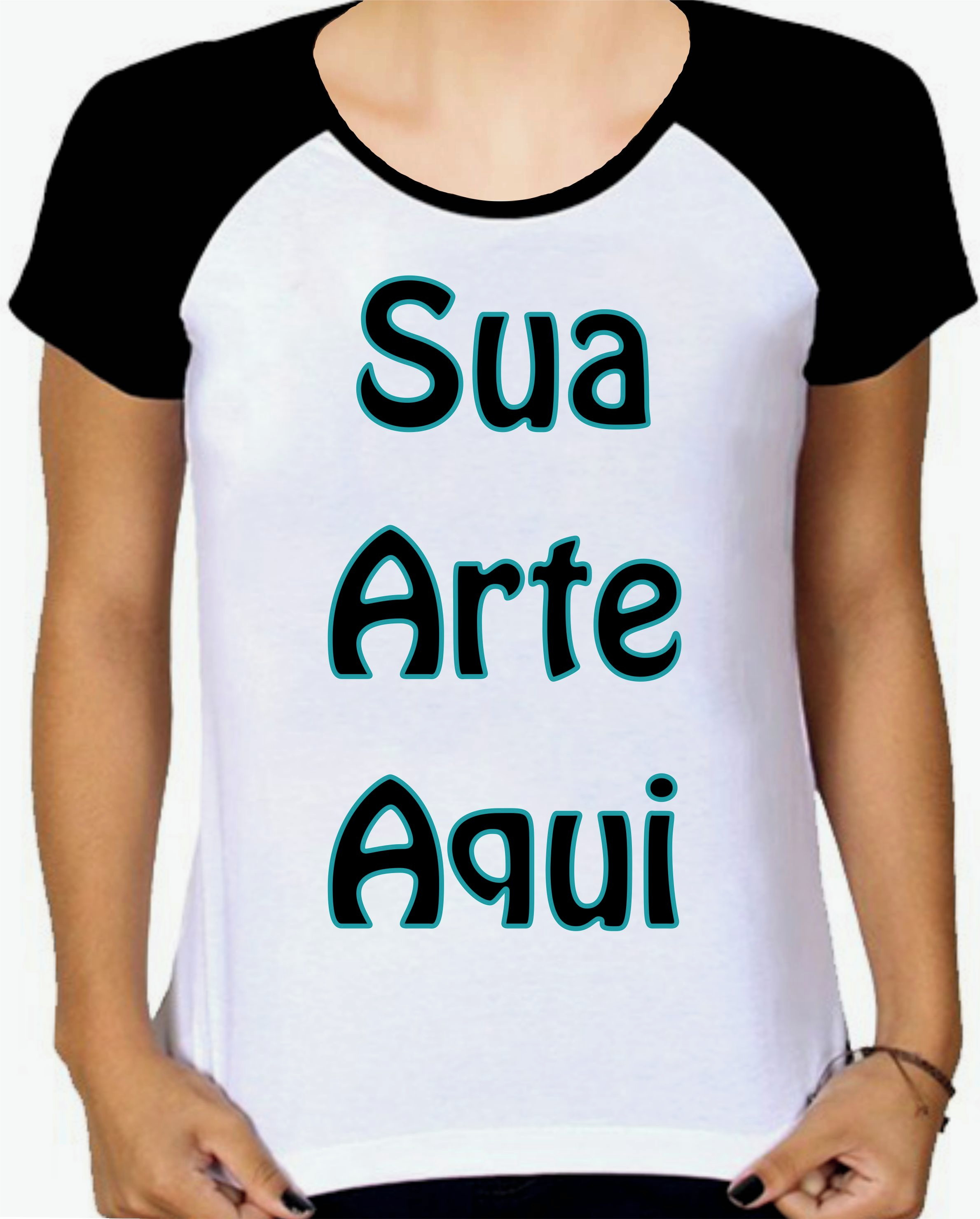 Camiseta Camisa Modelo Raglan Personalizada com Sua Arte  ae892da3a8fba