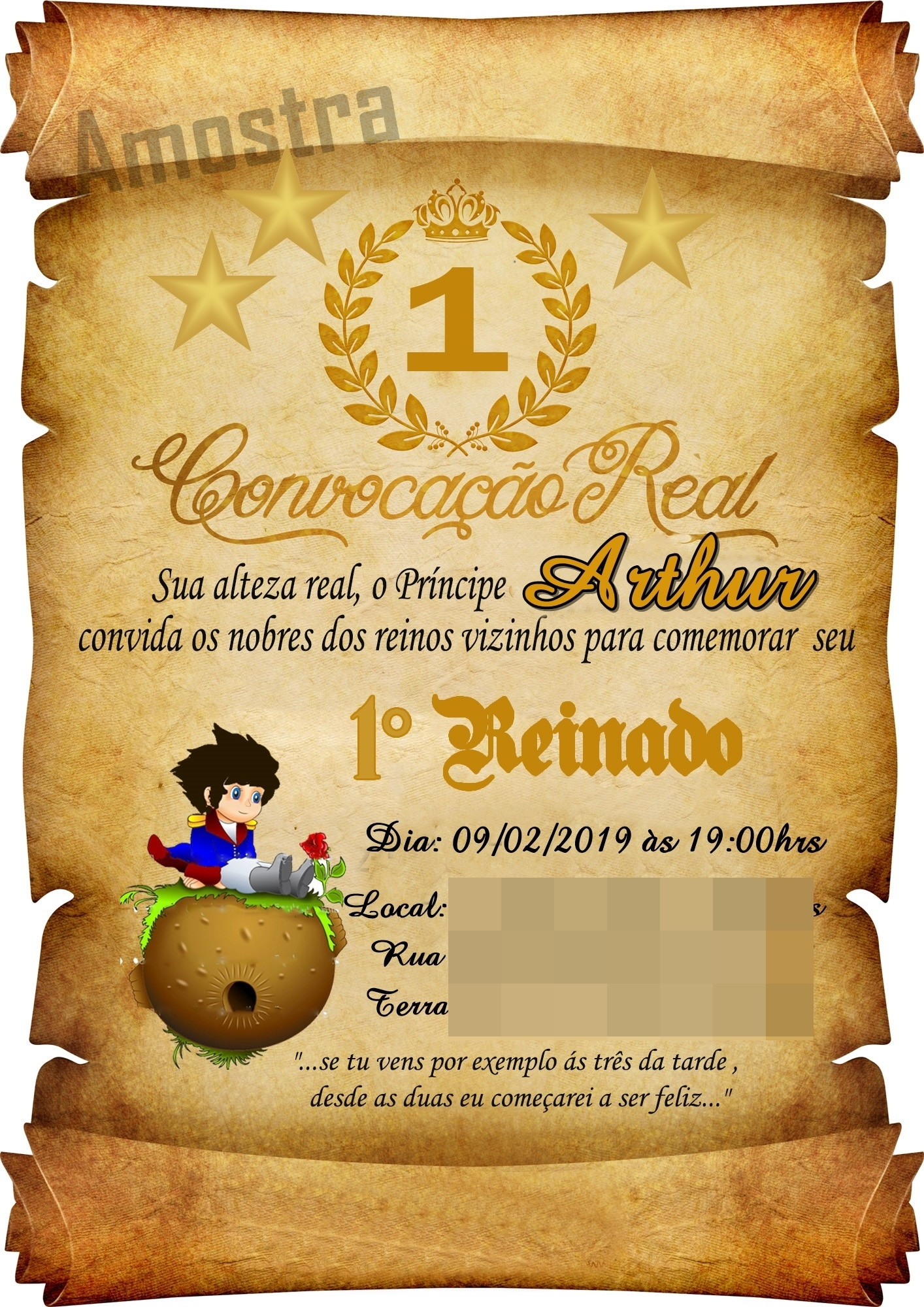 Convite Pergaminho Pequeno Principe no Elo7 | TomTom Baby (D3F9AE)