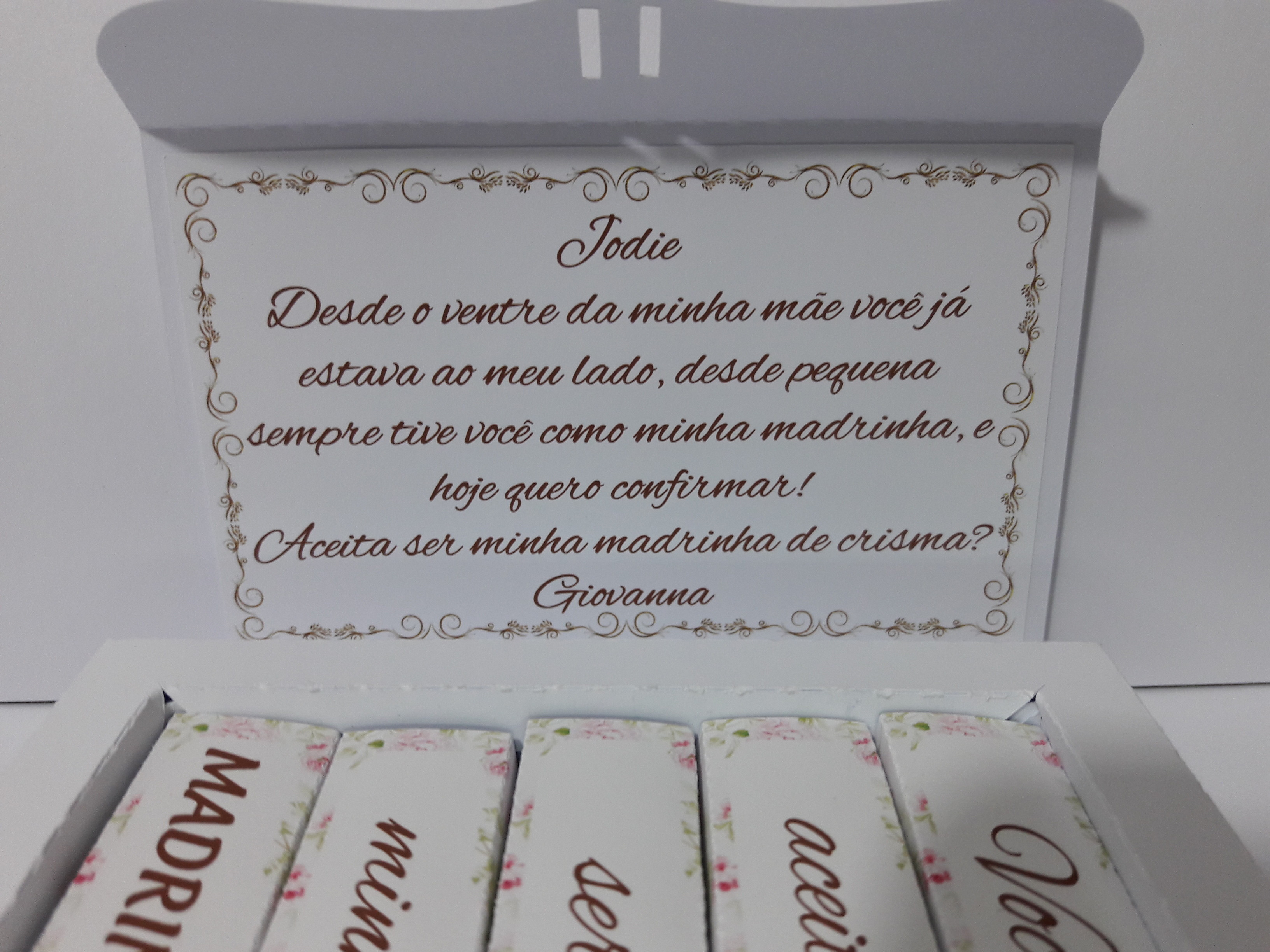 Caixa Convite para Madrinha de Crisma no Elo7   Di Bambinni (D40F99) b95f643cf6