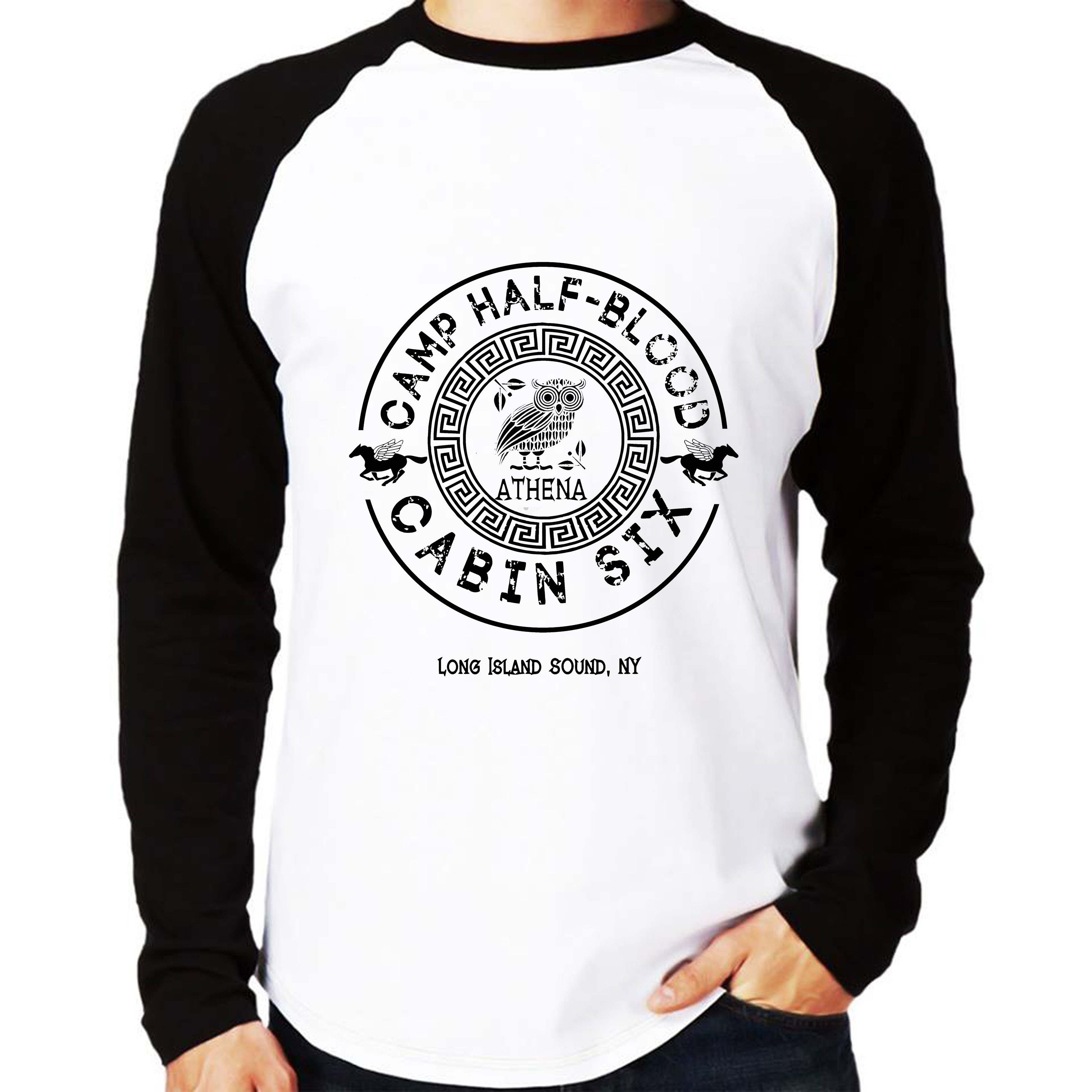 ce1be80896 Camisa Raglan Percy Jackson Poseidon Manga Longa