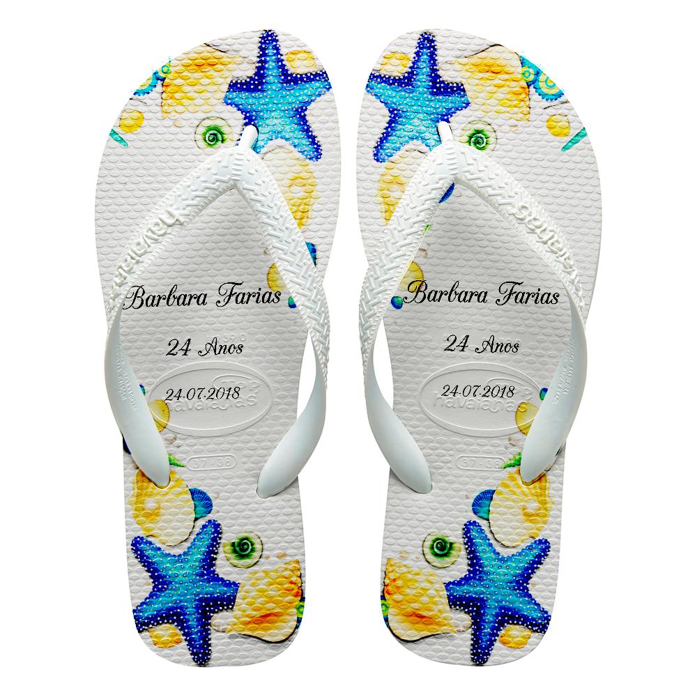 d6eb0e1aec Chinelos havaianas personalizados Praia estrela do mar azul no Elo7 ...