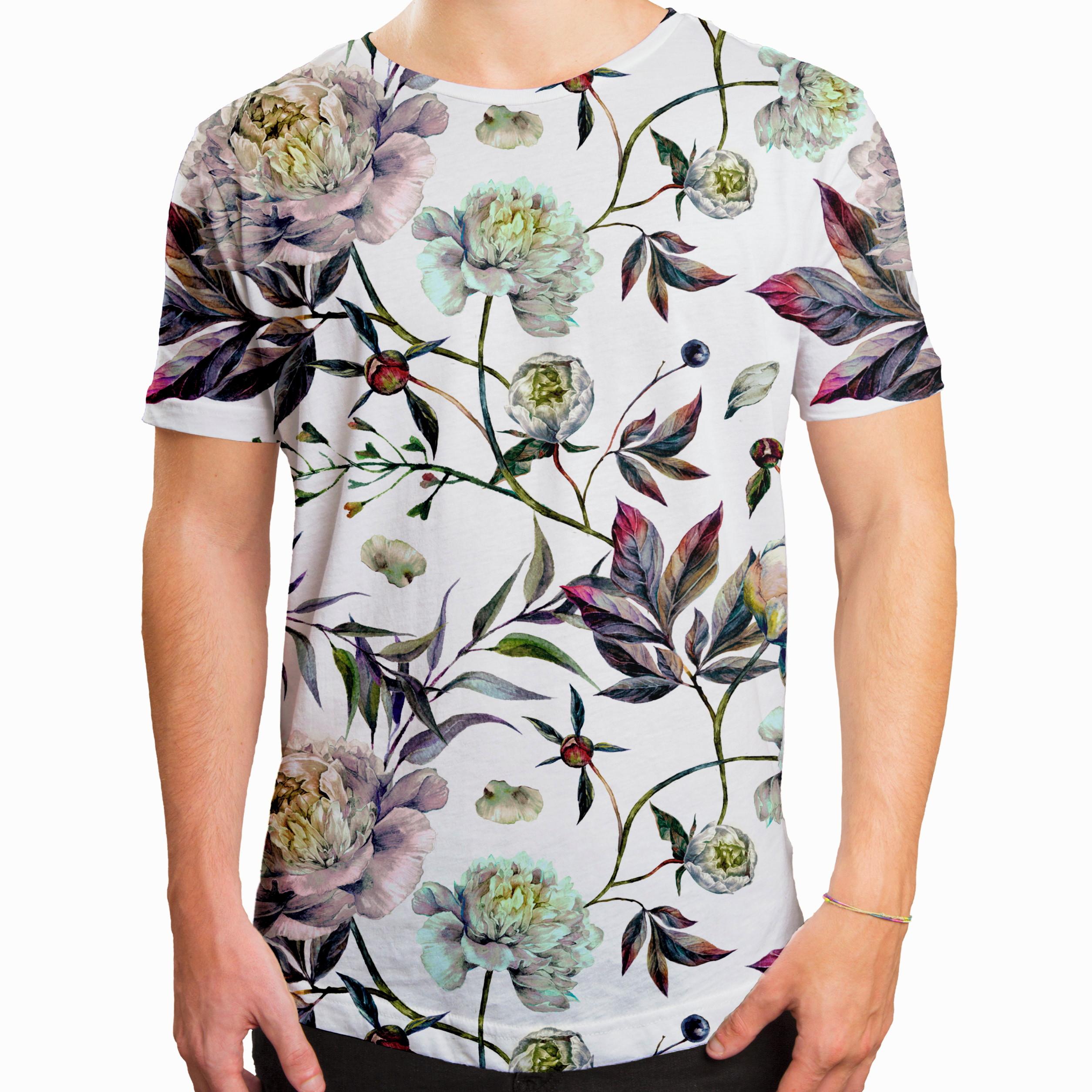 21f50bf5f323c Camiseta Masculina Longline Swag Floral e Folhas