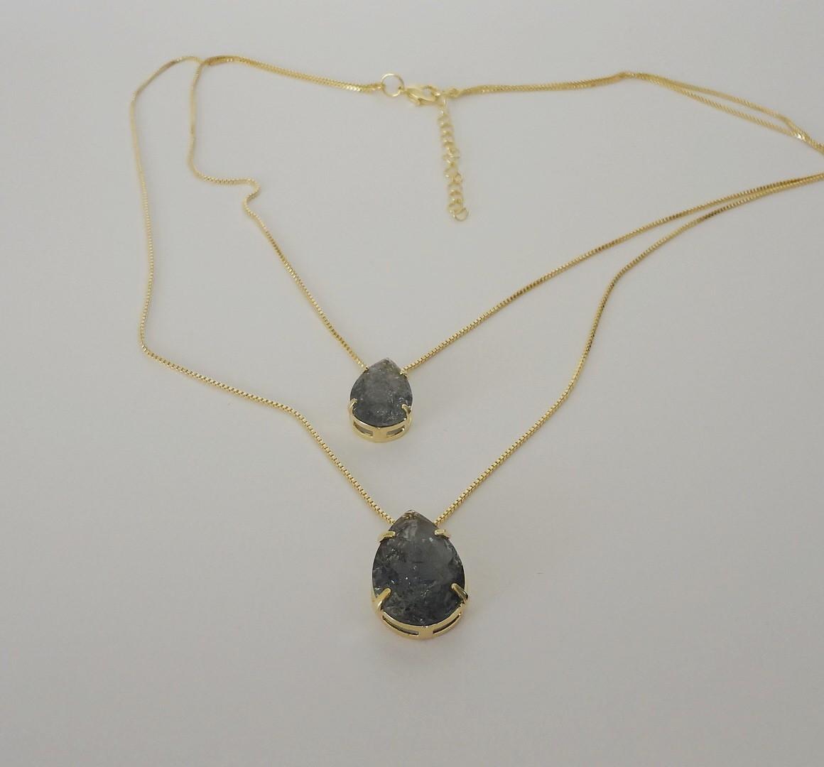 Colar Duplo Folheado a Ouro - Zircônias Fusion - cinza no Elo7   Pedra do  Sol - Arte e Estilo (D495D0) 67777e9442
