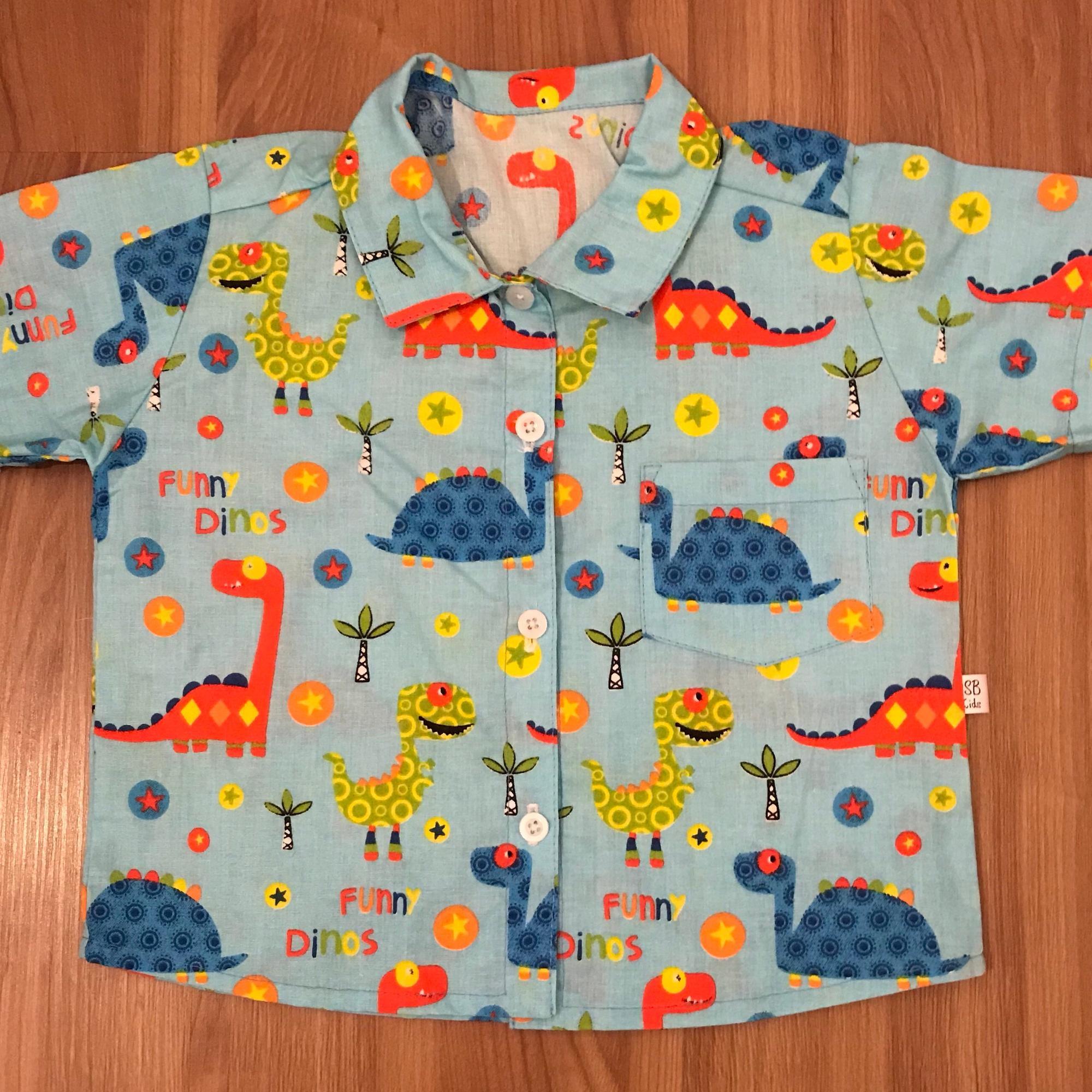 a572a298eb Camisa Infantil Dinossauro Azul