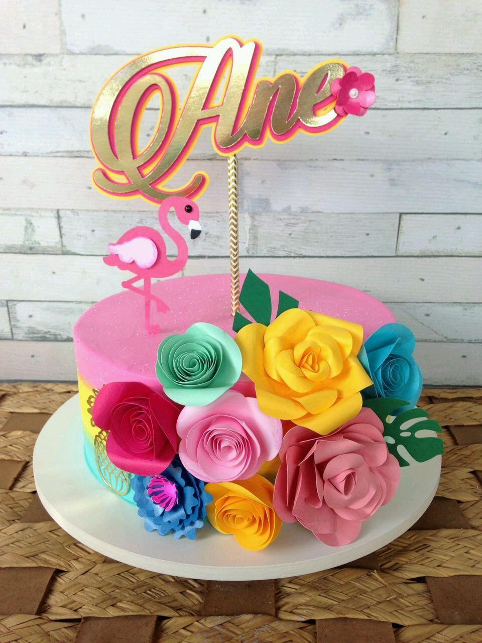 Topo De Bolo Flores E Flamingo