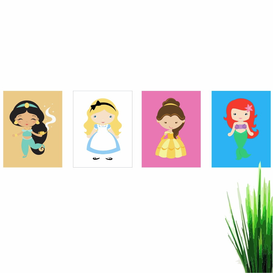 4 Quadros 30x22 Decorativo Desenho Princesas Q3022k4qp1256 No