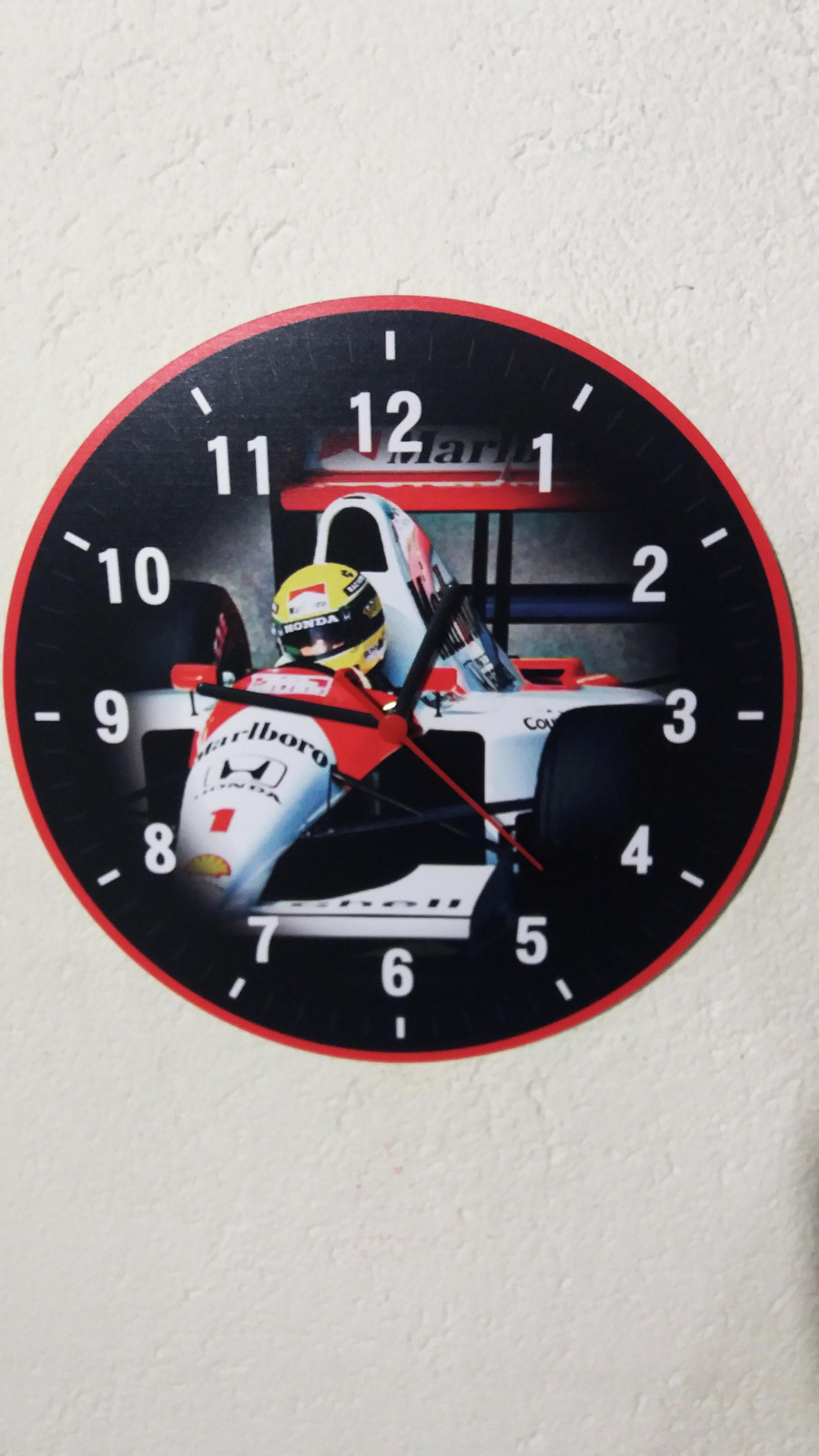 8002b6f9c95 Relogio de Parede Ayrton Senna Mclaren Rosto