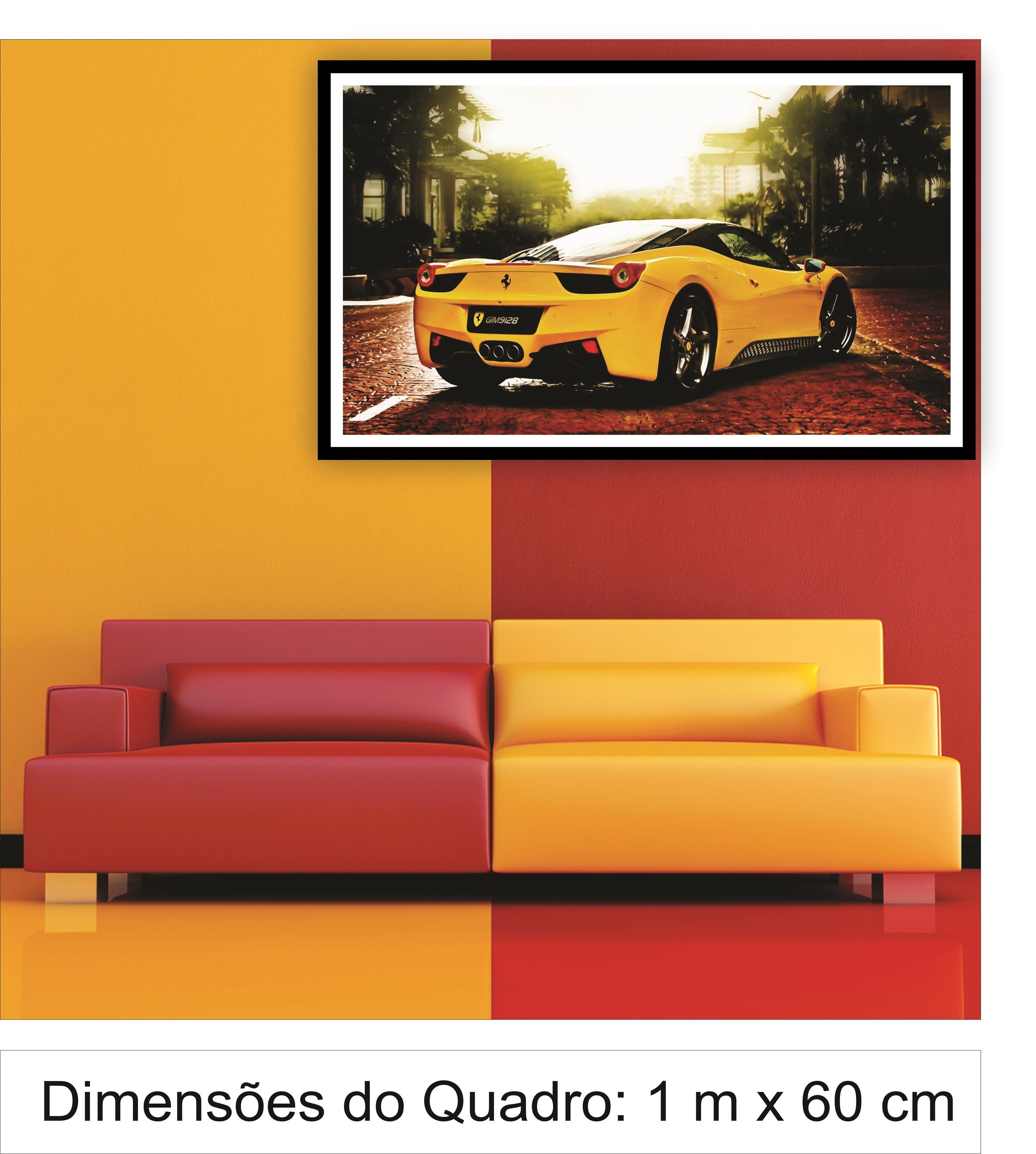 Quadro Decorativo Ferrari Amarela - Cedro Preto 2 no Elo7  fe5c79a2d34